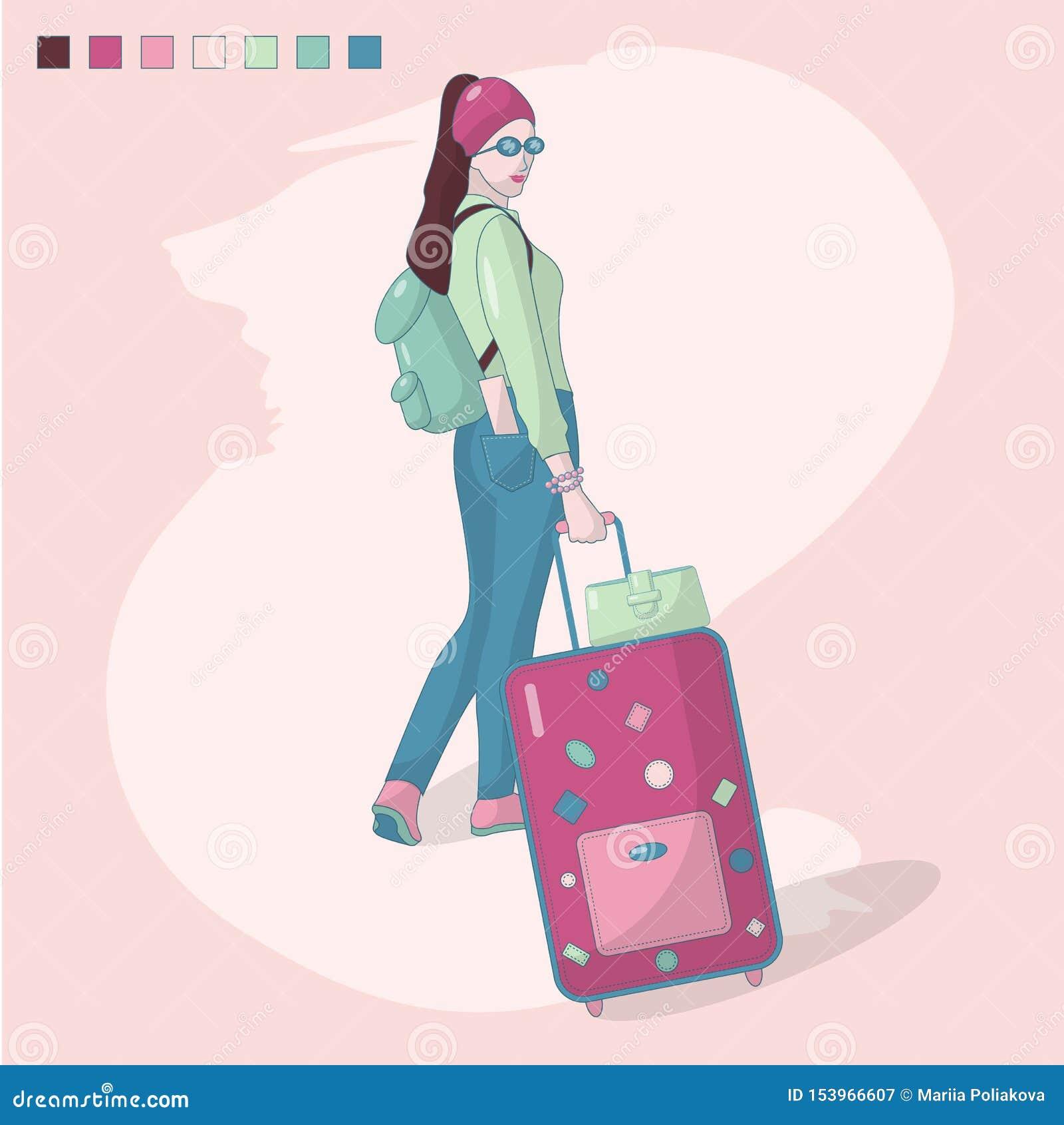 Η διανυσματική απεικόνιση ενός κοριτσιού με τη βαλίτσα, ένα σακίδιο πλάτης και ένα εισιτήριο στην πίσω τσέπη των εσωρούχων του, π
