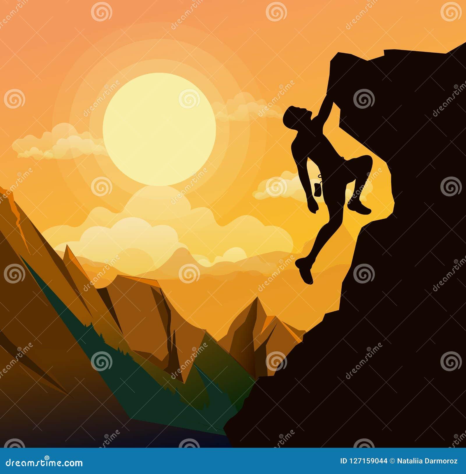Η διανυσματική απεικόνιση του ατόμου ορειβασίας στα βουνά λικνίζει στο υπόβαθρο ηλιοβασιλέματος στο επίπεδο ύφος Κίνητρο