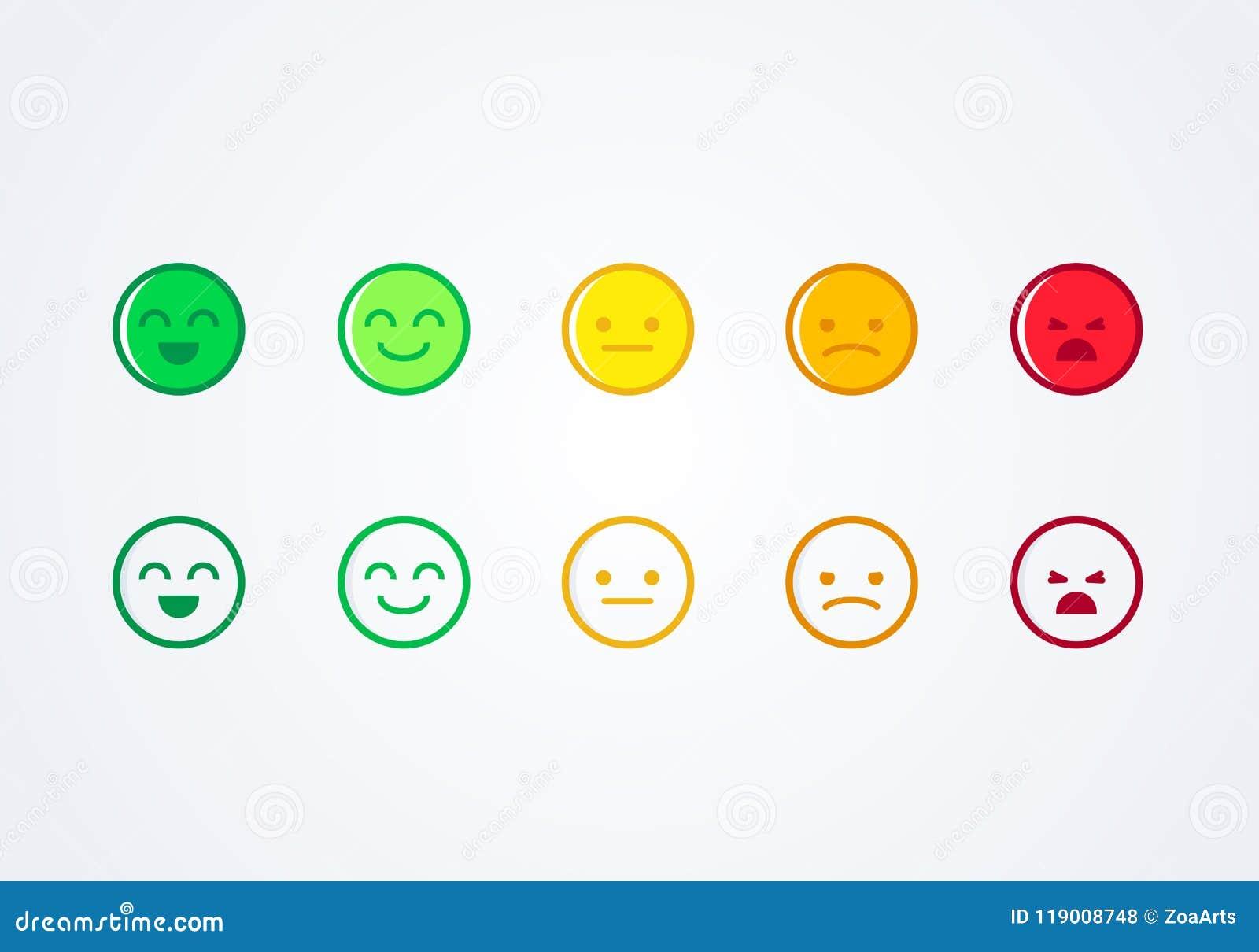 Η διανυσματική εμπειρία χρηστών απεικόνισης ανατροφοδοτεί το διαφορετικό εικονίδιο emoji smiley διάθεσης έννοιας emoticons θετικό
