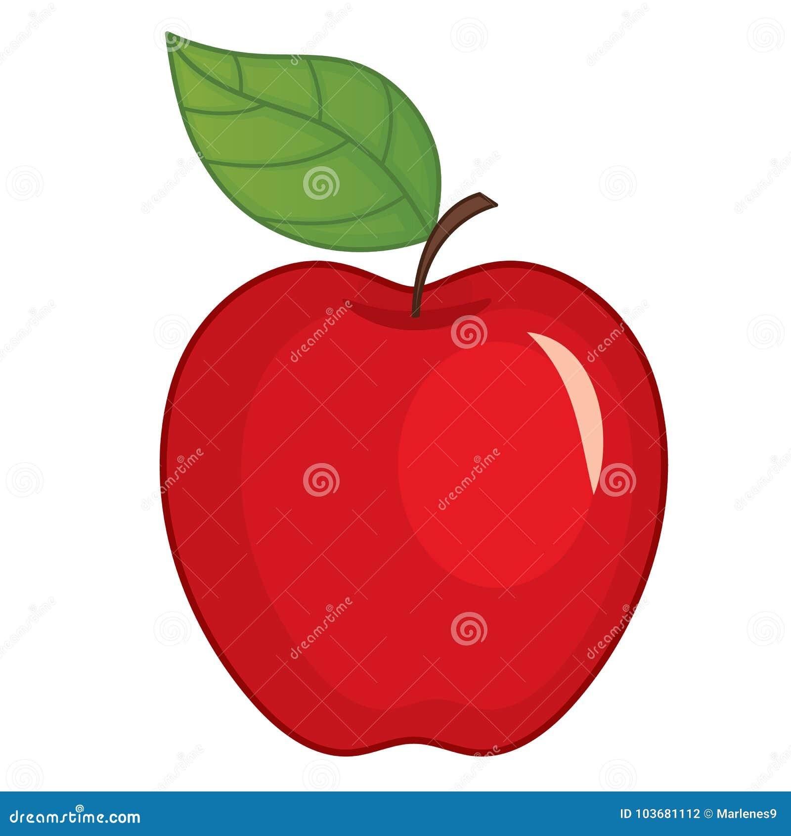 Η διανυσματική κόκκινη Apple με το φύλλο