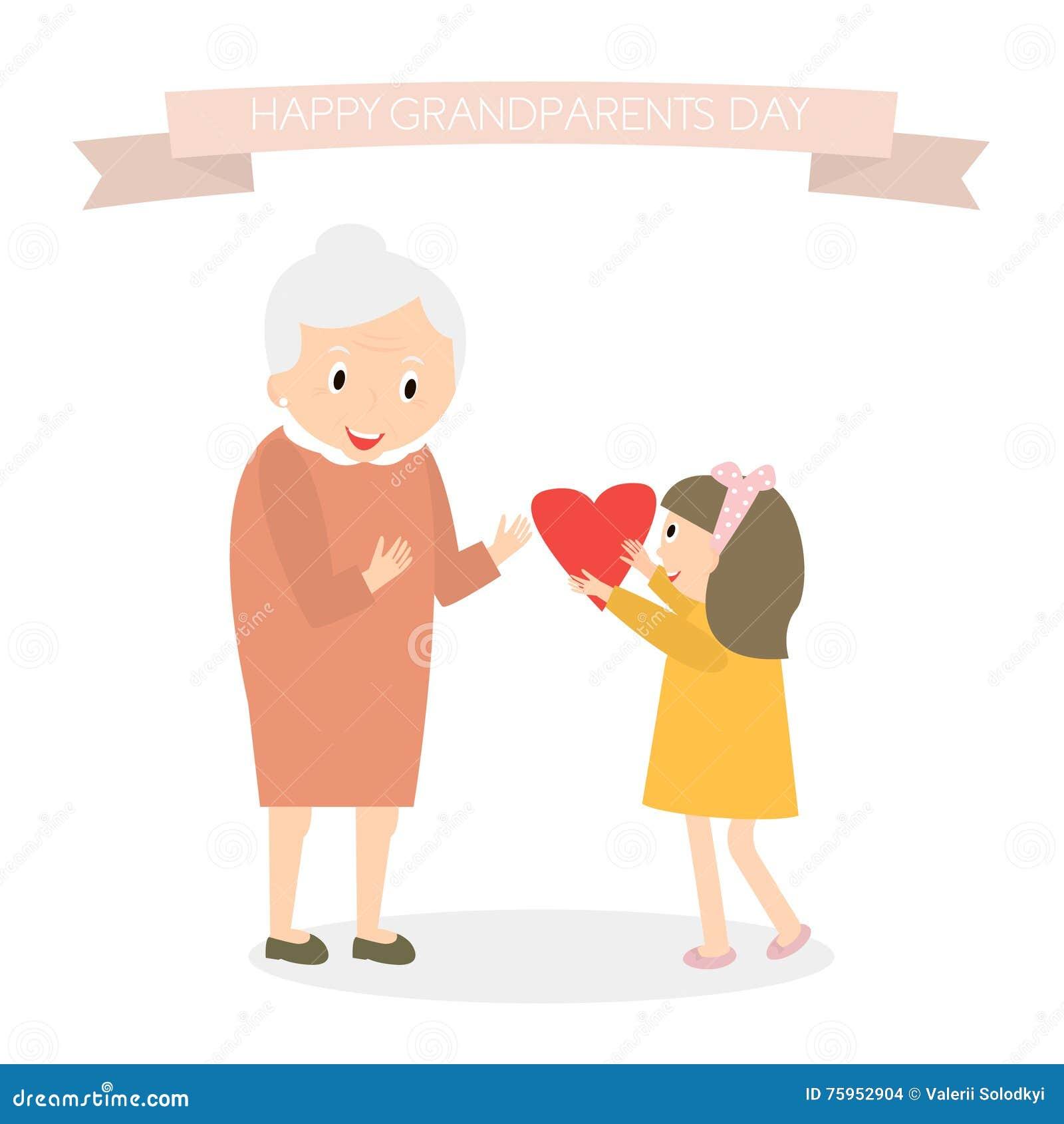 Η εγγονή δίνει την καρδιά στη γιαγιά Ευτυχές υπόβαθρο χαιρετισμού ημέρας παππούδων και γιαγιάδων επίσης corel σύρετε το διάνυσμα