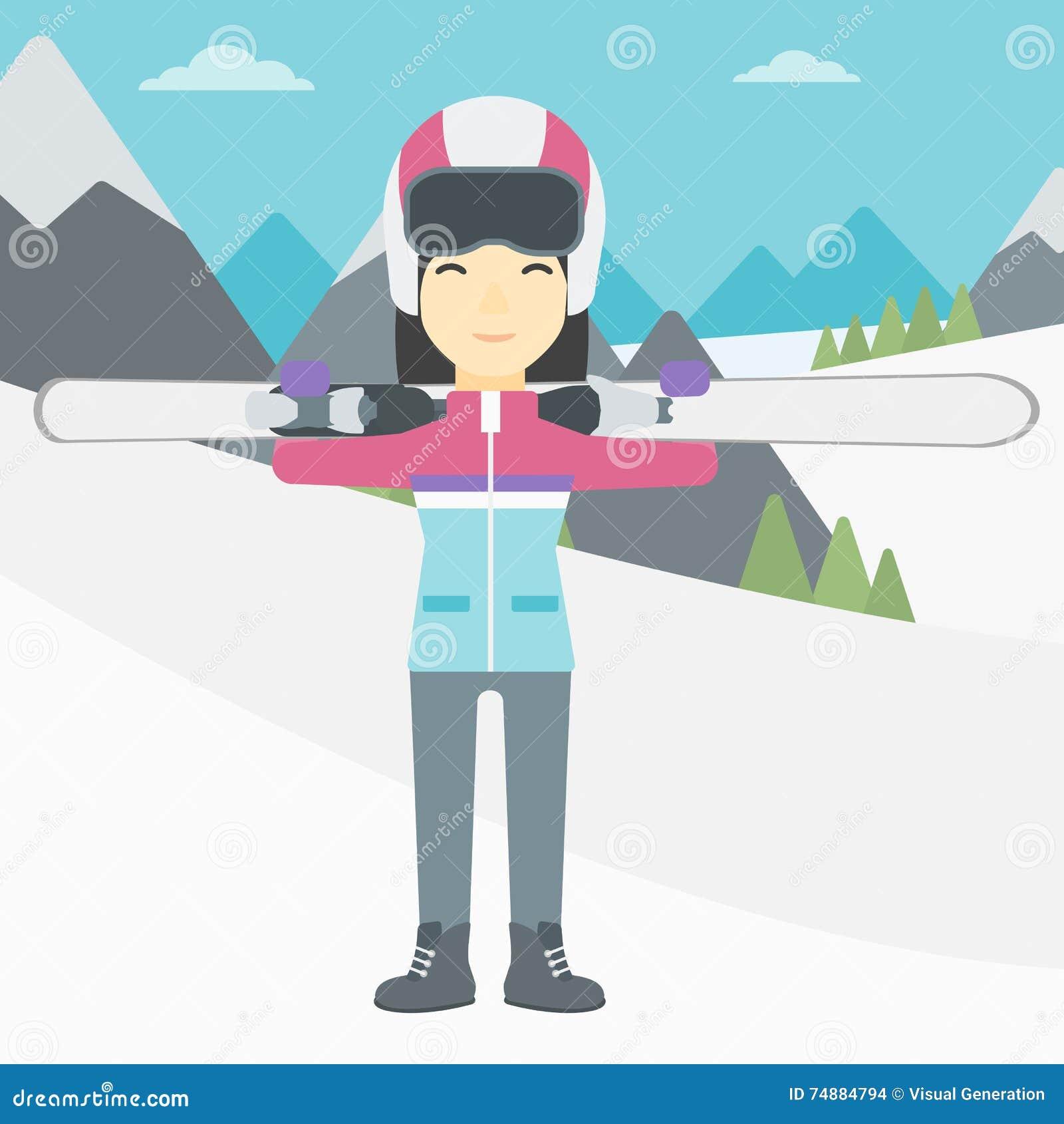 Η εκμετάλλευση γυναικών κάνει σκι διανυσματική απεικόνιση