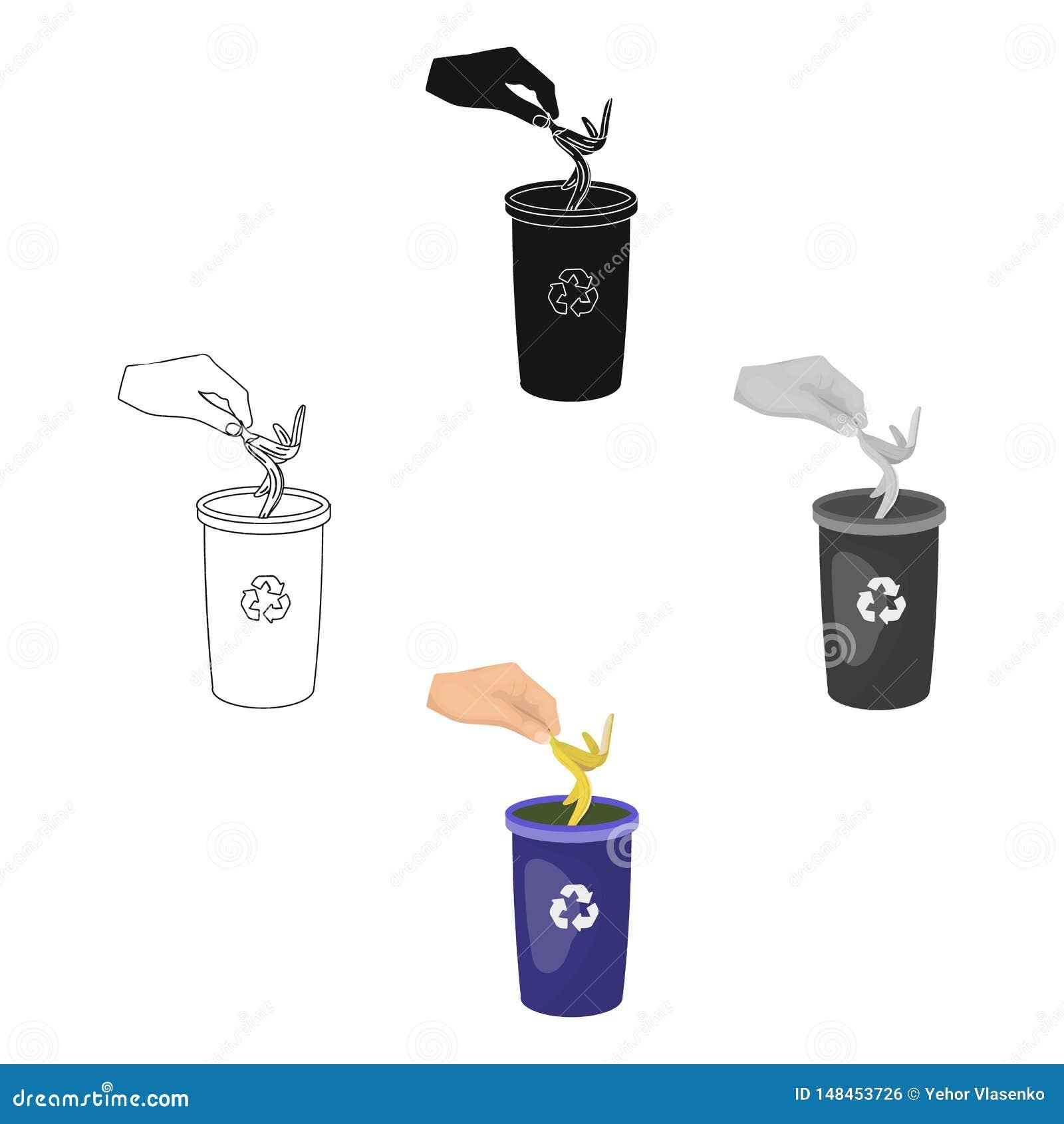Η εκπομπή της φλούδας μπανανών στα απορρίματα μπορεί για τα απόβλητα Σκουπίδια και ενιαίο εικονίδιο οικολογίας στα κινούμενα σχέδ
