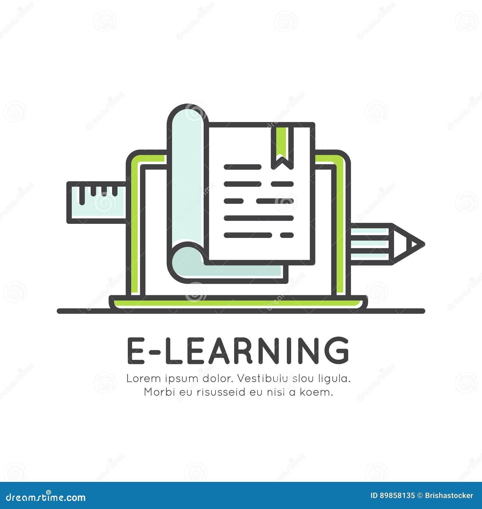 Ηλεκτρονικός σε απευθείας σύνδεση βαθμός βαθμολόγησης εκμάθησης, πληροφορίες απόστασης, υλικό μελέτης, γνώση Διαδικτύου