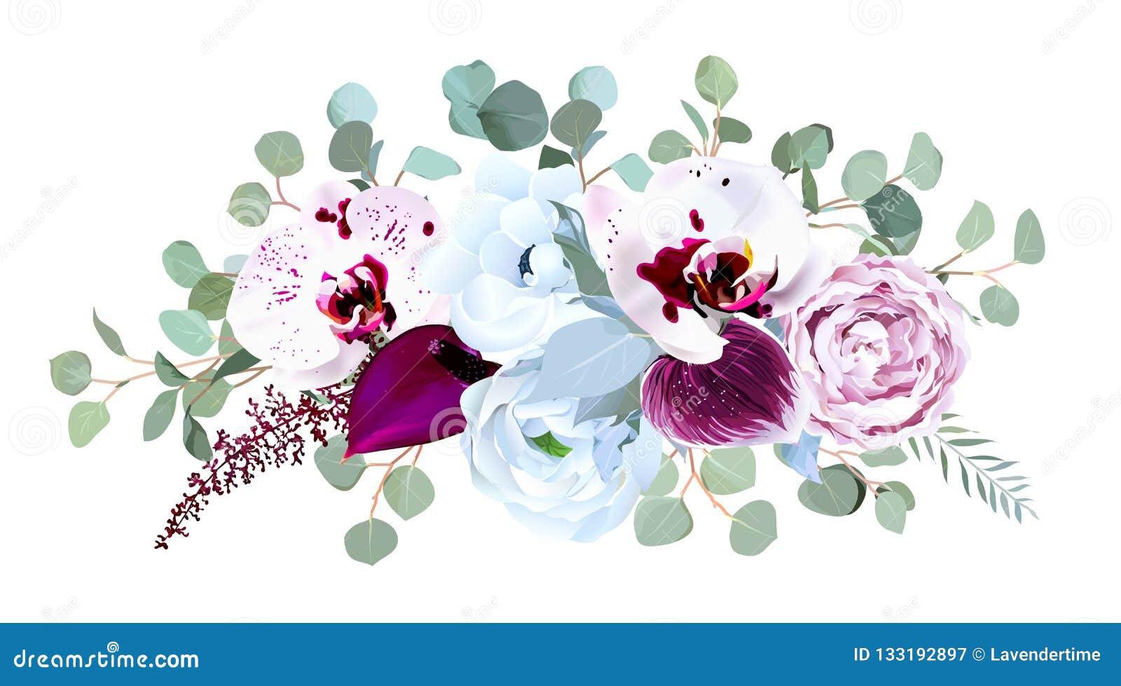 Η εξωτική speckled ορχιδέα, anthurium, πορφυρό αυξήθηκε, anemone, eucalyp