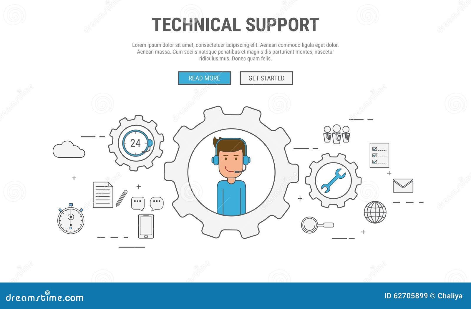Η επίπεδη έννοια σχεδίου γραμμών για τη τεχνική υποστήριξη, εξυπηρέτηση πελατών, που χρησιμοποιήθηκε για τα εμβλήματα Ιστού, εικό