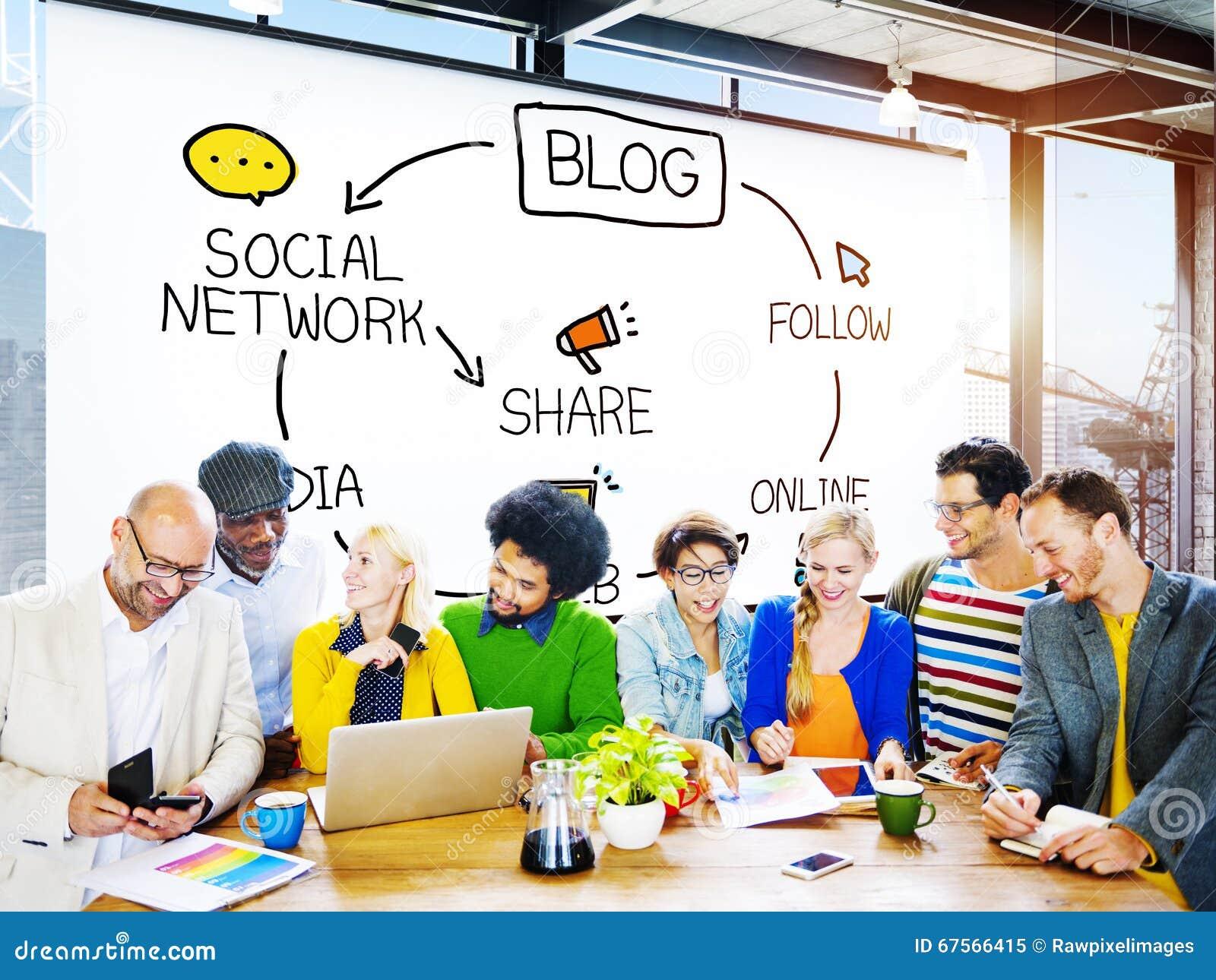 Η επικοινωνία Blogging Blog συνδέει την κοινωνική έννοια στοιχείων