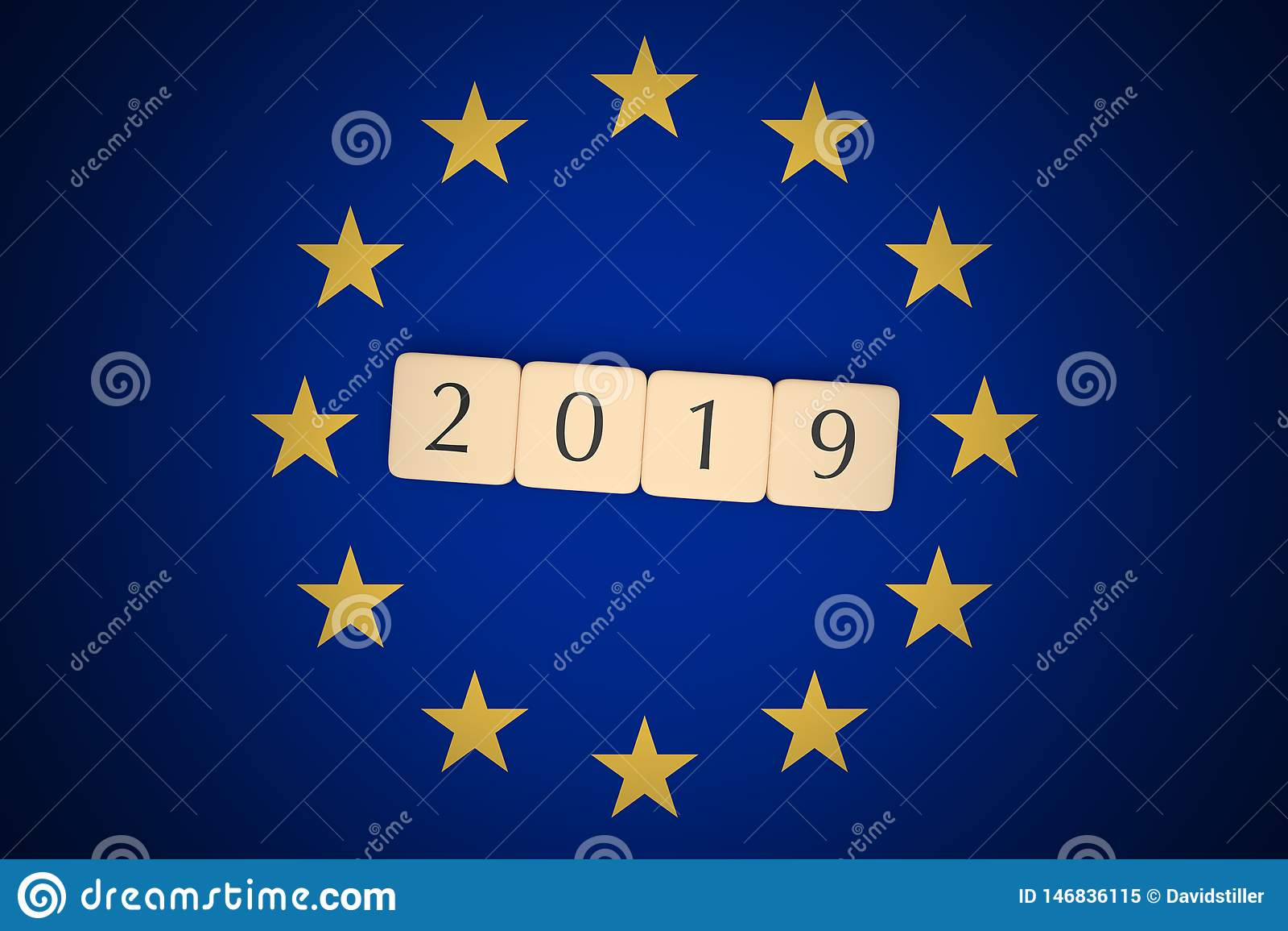 Η επιστολή κεραμώνει το 2019 με τη σημαία της ΕΕ, τρισδιάστατη απεικόνιση