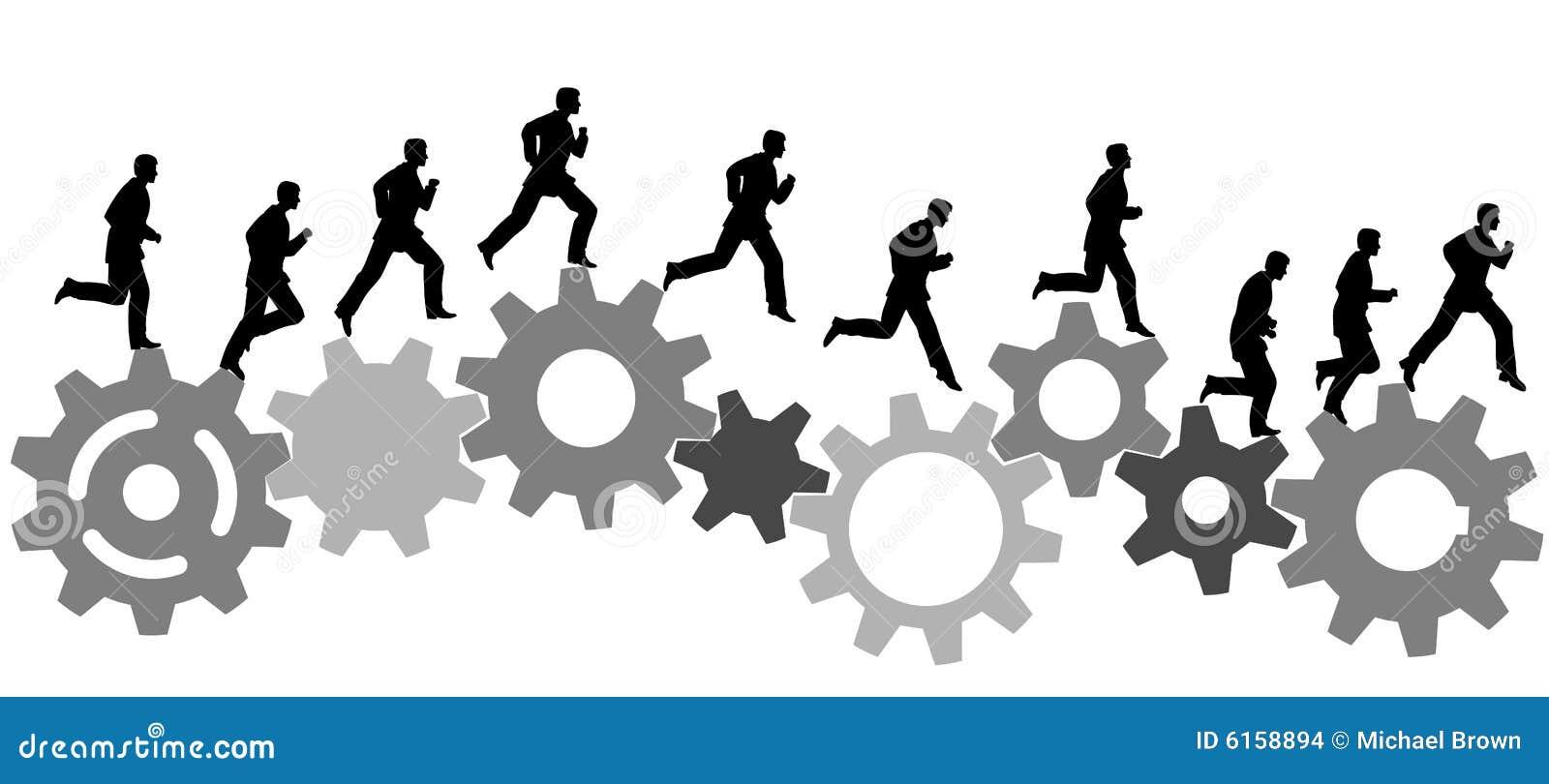 η επιχείρηση συνδέει τα βιομηχανικά τρεξίματα ατόμων μηχανών