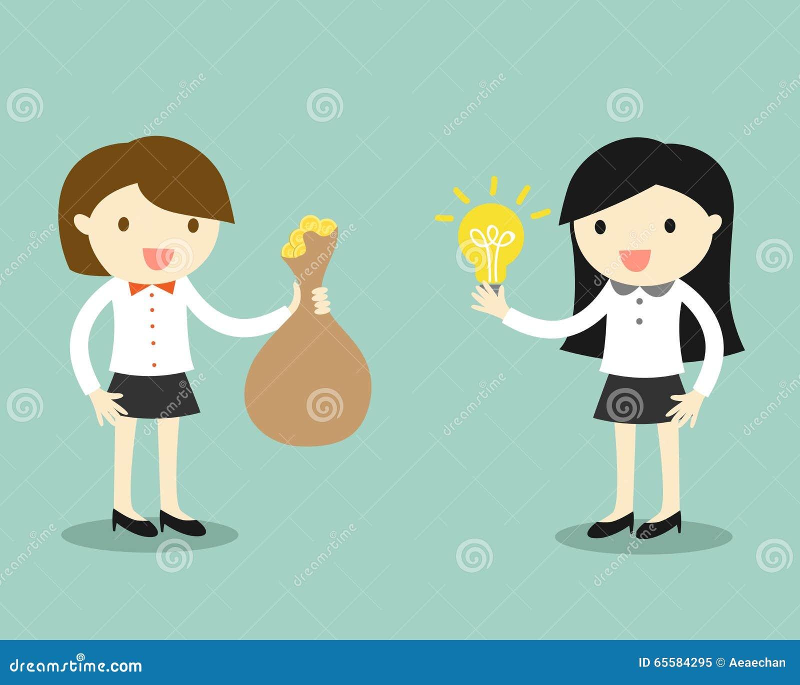 Η επιχειρησιακή έννοια, δύο επιχειρησιακές γυναίκες δίνει την ιδέα και τα χρήματα για την ανταλλαγή επίσης corel σύρετε το διάνυσ