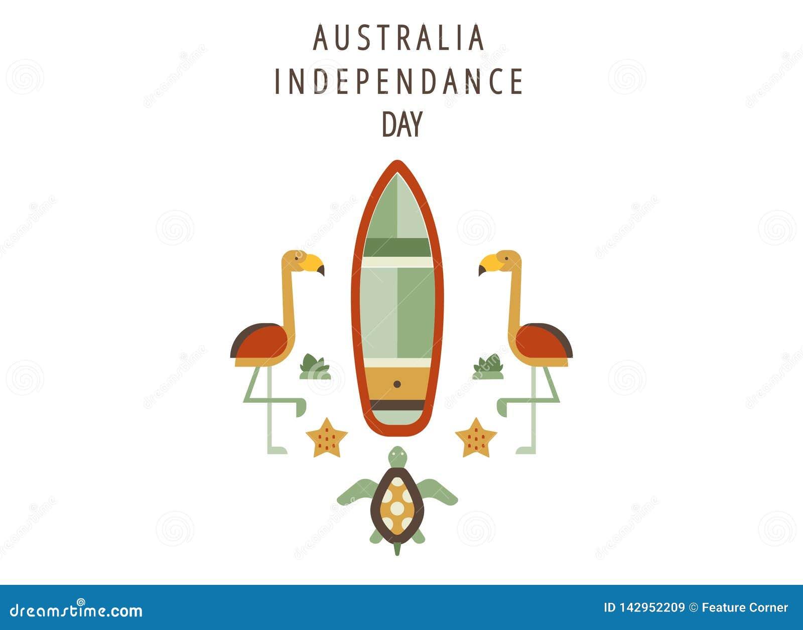 Η ευτυχής ημέρα της Αυστραλίας, γιορτάζει στις 26 Ιανουαρίου τους χαιρετισμούς εμβλημάτων ή διακοπών ή την κάρτα ή το πρότυπο αφι