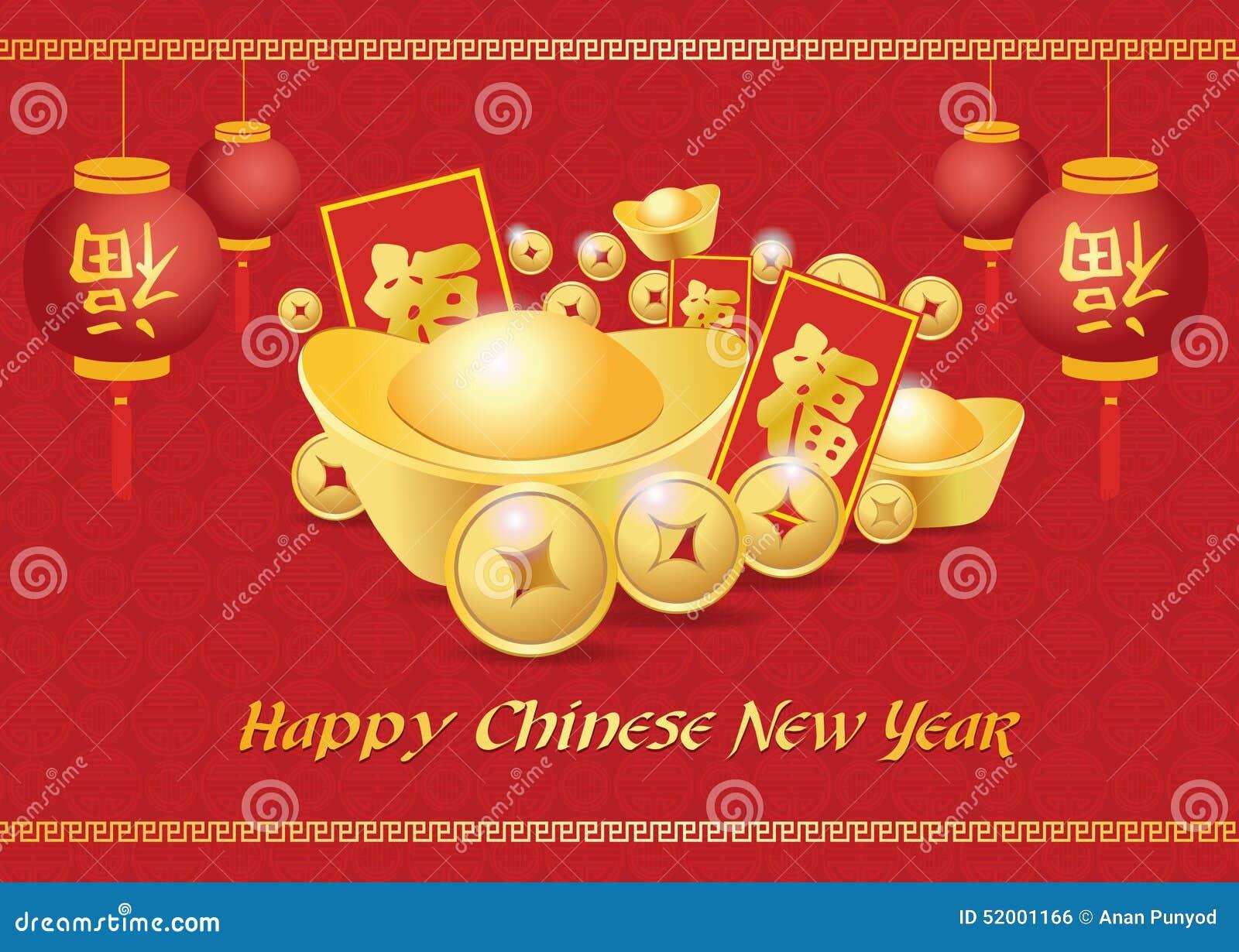 Η ευτυχής κινεζική νέα κάρτα έτους είναι φανάρια, χρυσά χρήματα νομισμάτων, η λέξη ανταμοιβής και chiness είναι μέση ευτυχία