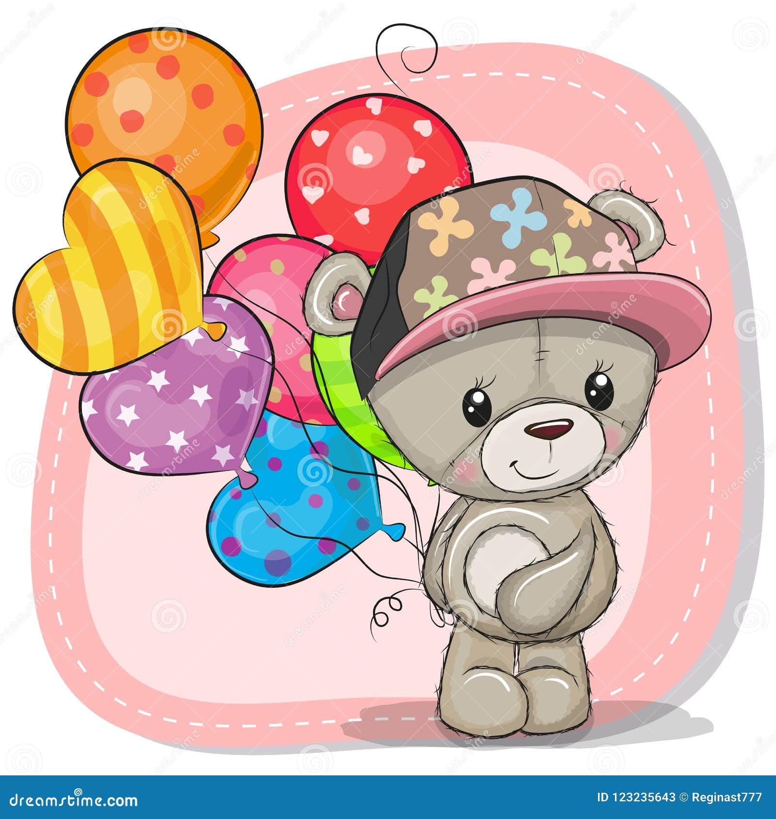 Η ευχετήρια κάρτα Teddy αντέχει με τα μπαλόνια