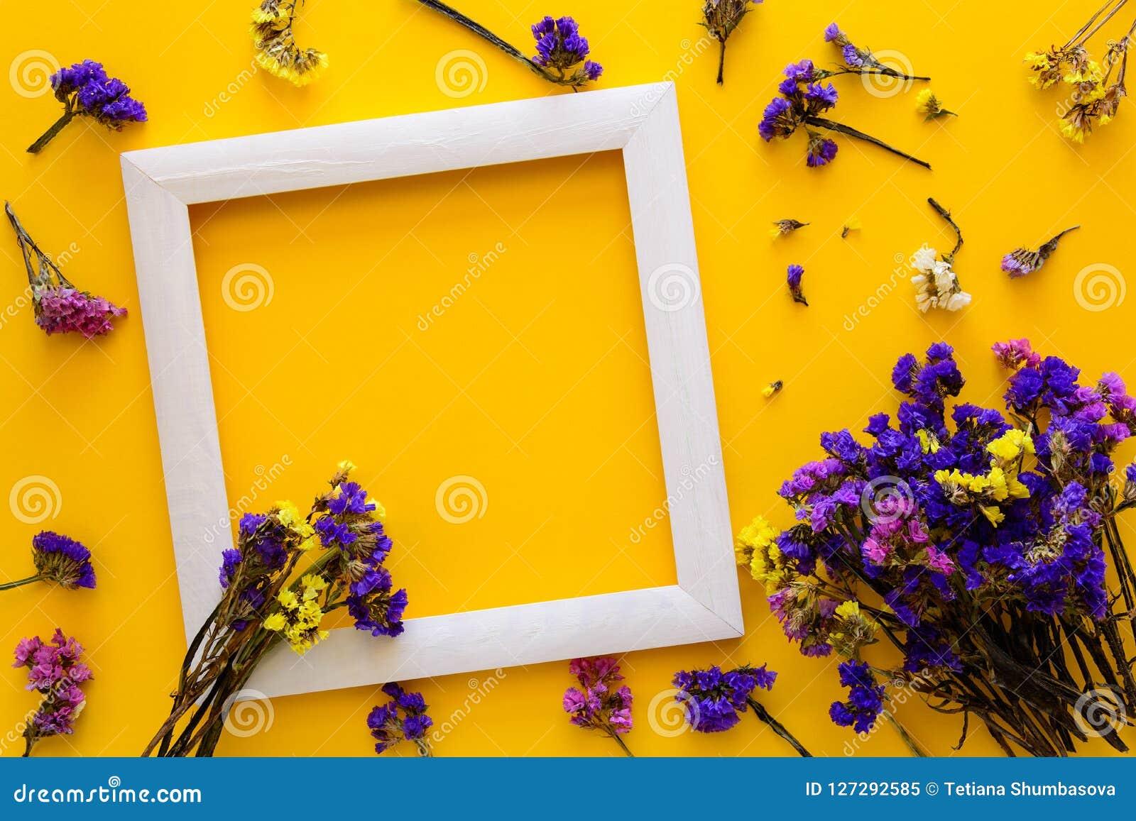 Η ζωηρόχρωμη ανθοδέσμη του ξηρού φθινοπώρου ανθίζει να βρεθεί σε ένα άσπρο πλαίσιο στο κίτρινο υπόβαθρο εγγράφου διάστημα αντιγρά