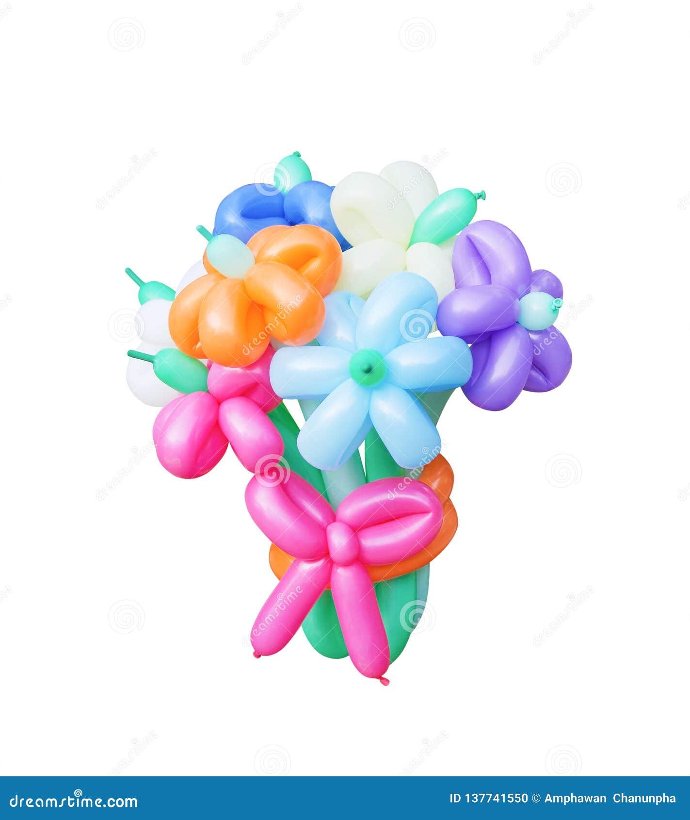 Η ζωηρόχρωμη δέσμη των πολύχρωμων μπαλονιών στην ανθοδέσμη ανθίζει τα σχέδια που απομονώνονται στο άσπρο υπόβαθρο με το ψαλίδισμα