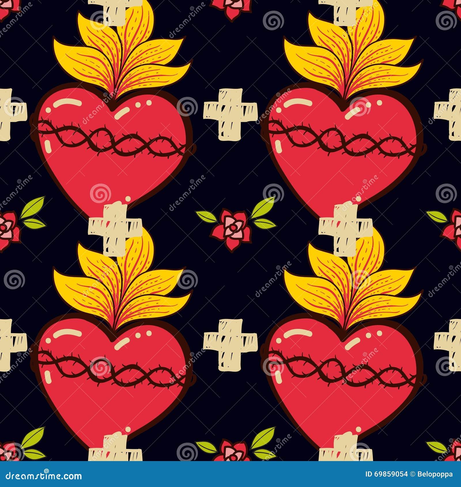 Η ιερή καρδιά, σταυρός, αυξήθηκε άνευ ραφής ύφος δερματοστιξιών schooll σχεδίων παλαιό