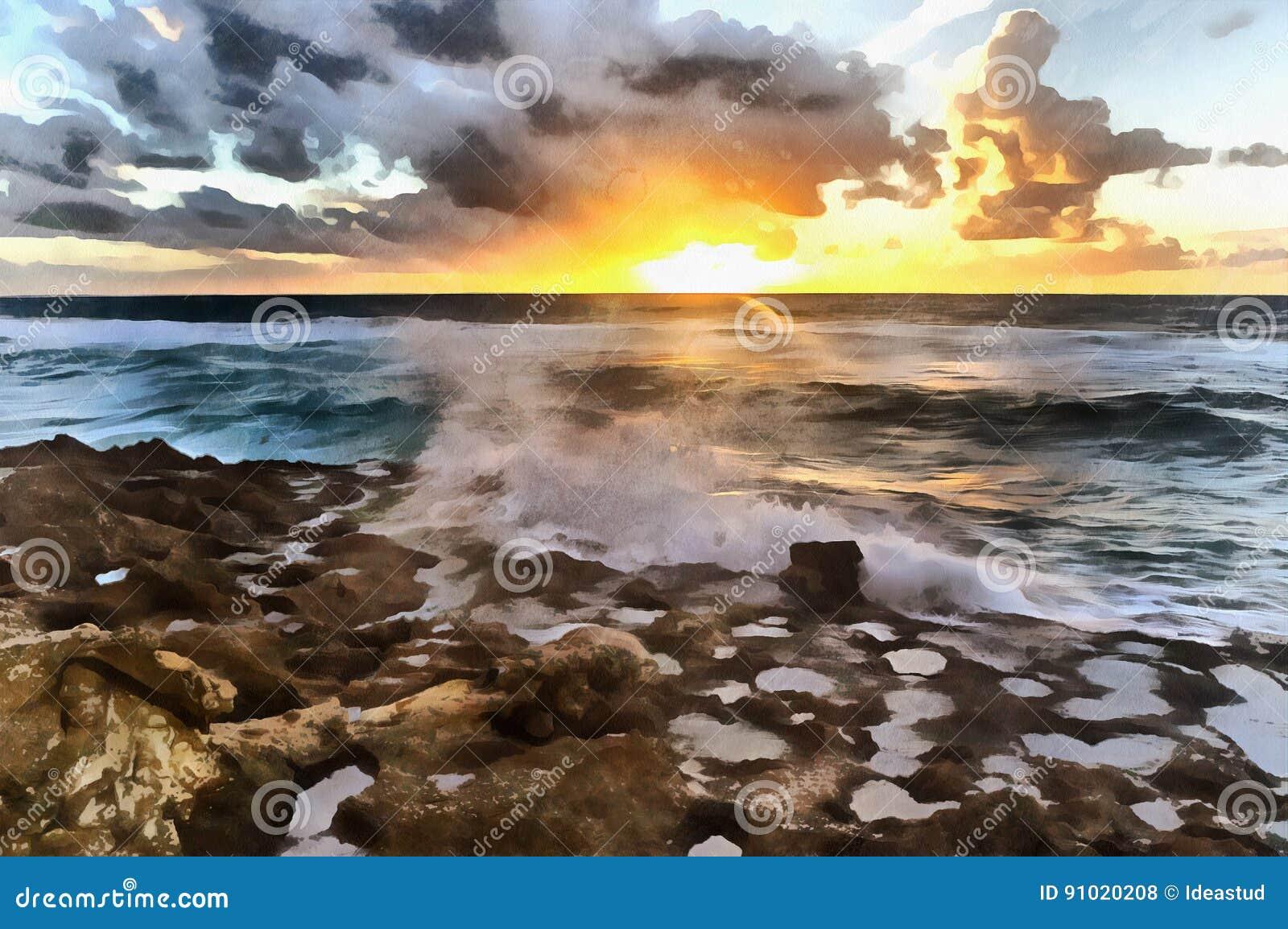 Ηλιοβασίλεμα πέρα από τη ζωηρόχρωμη ζωγραφική παραλιών του Ατλαντικού Ωκεανού