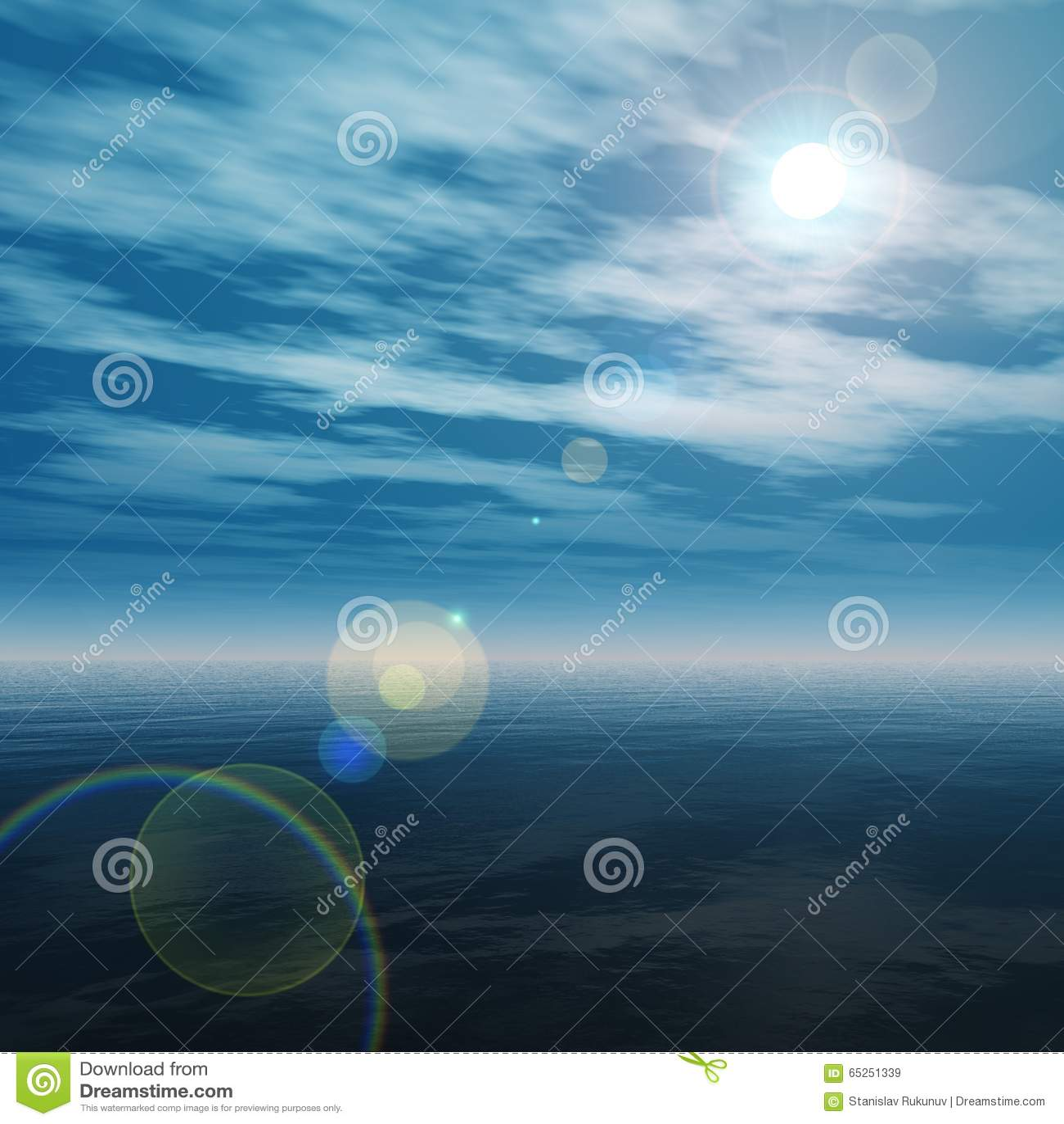 Ηλιοβασίλεμα στον ωκεανό, η ανατολή πέρα από τη θάλασσα, το φως πέρα από τη θάλασσα