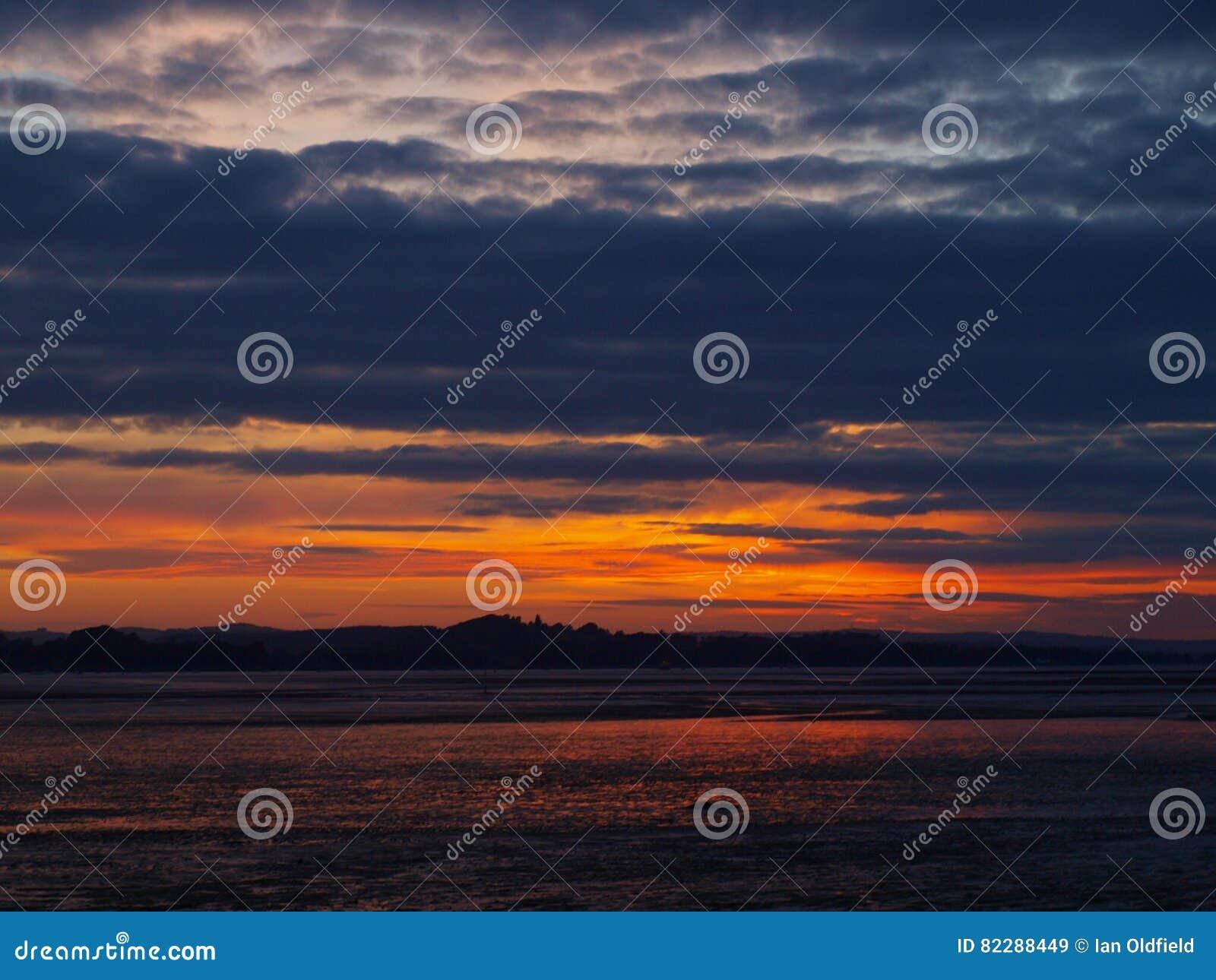 Ηλιοβασίλεμα Exmouth από την παραλία στο Ντέβον