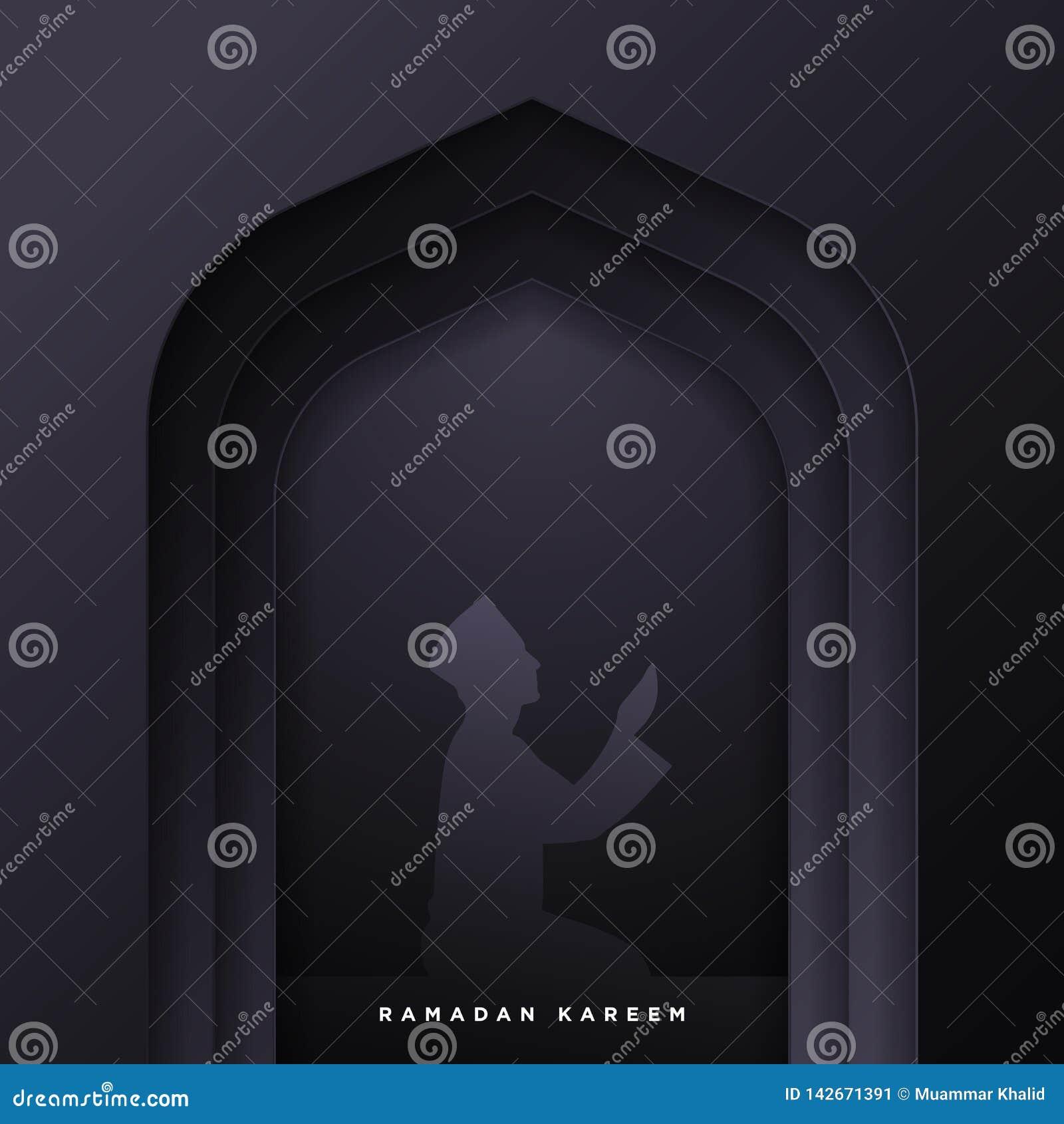 Η ισλαμική πόρτα μουσουλμανικών τεμενών για το ramadan υπόβαθρο εμβλημάτων χαιρετισμού kareem διανυσματικό με το έγγραφο τέχνης έ