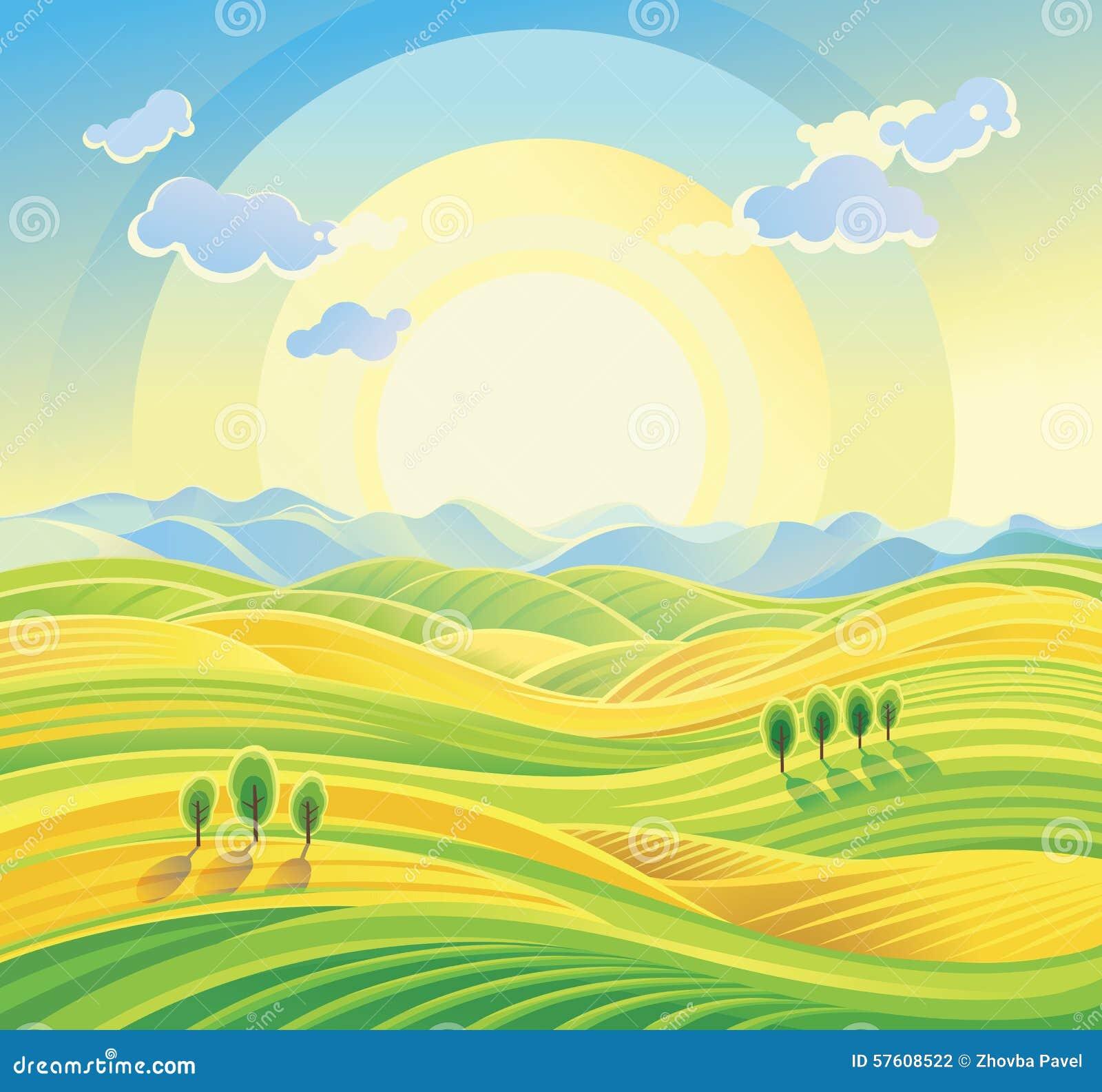 Ηλιόλουστο αγροτικό τοπίο με τους κυλώντας λόφους και τους τομείς