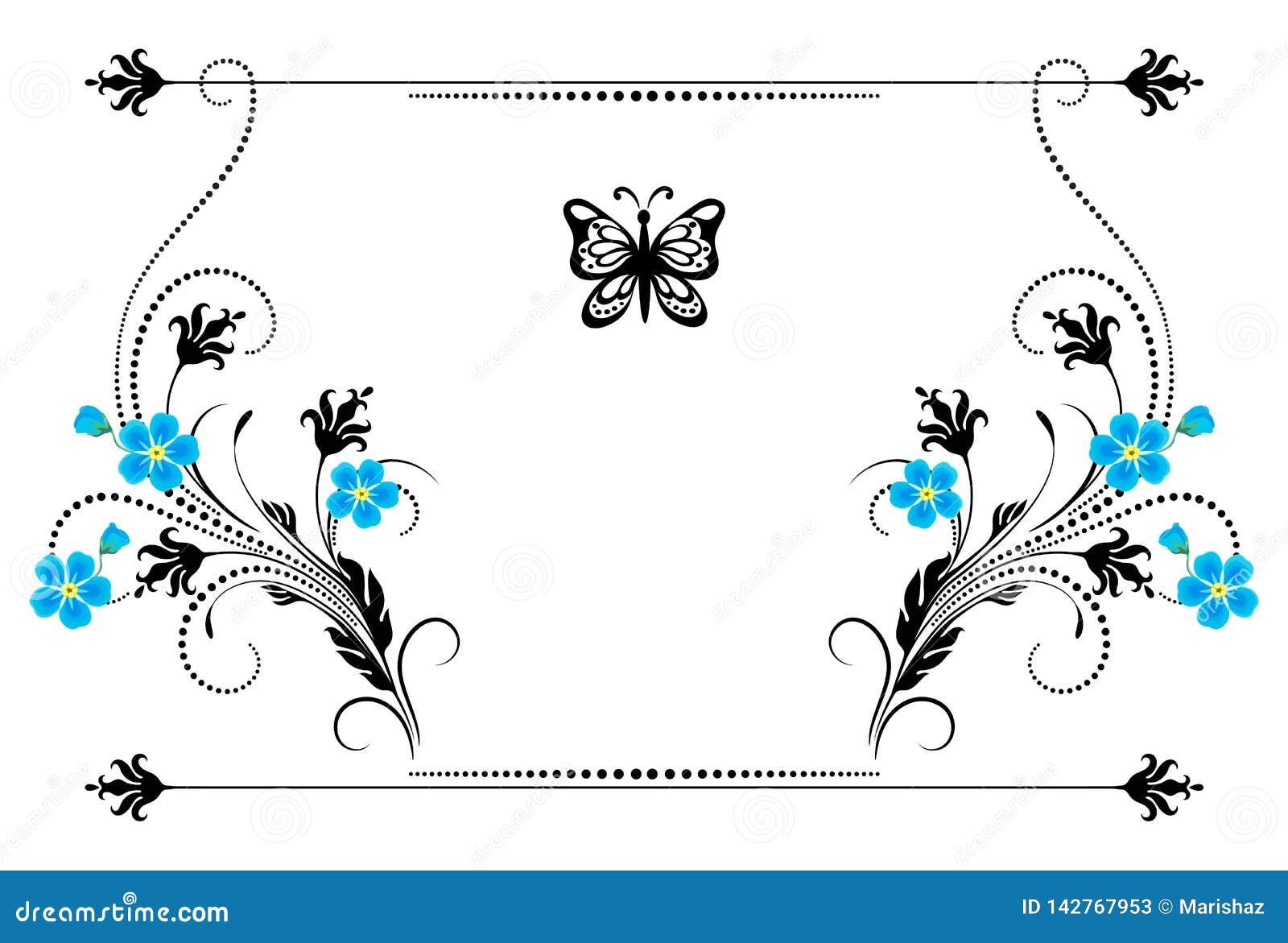 Η καθορισμένη εκλεκτής ποιότητας διακόσμηση με με ξεχνά όχι λουλούδια, πλαίσιο και διακοσμητικός διαιρέτης για τη ευχετήρια κάρτα