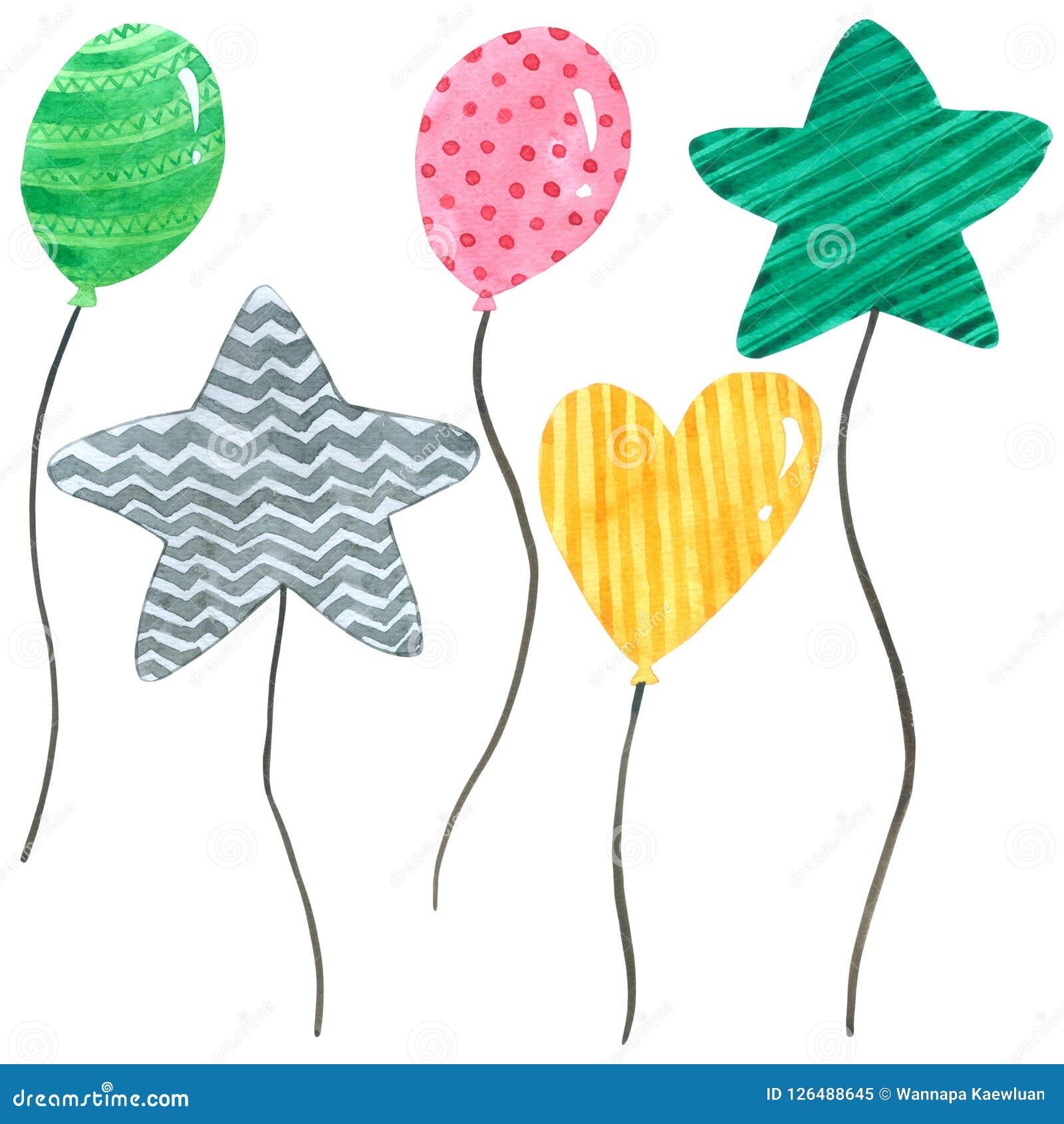 Η καθορισμένη συλλογή watercolor μπαλονιών υπόβαθρο, χέρι που σύρεται στο άσπρο για τα παιδιά, ευχετήρια κάρτα, περιπτώσεις σχεδι