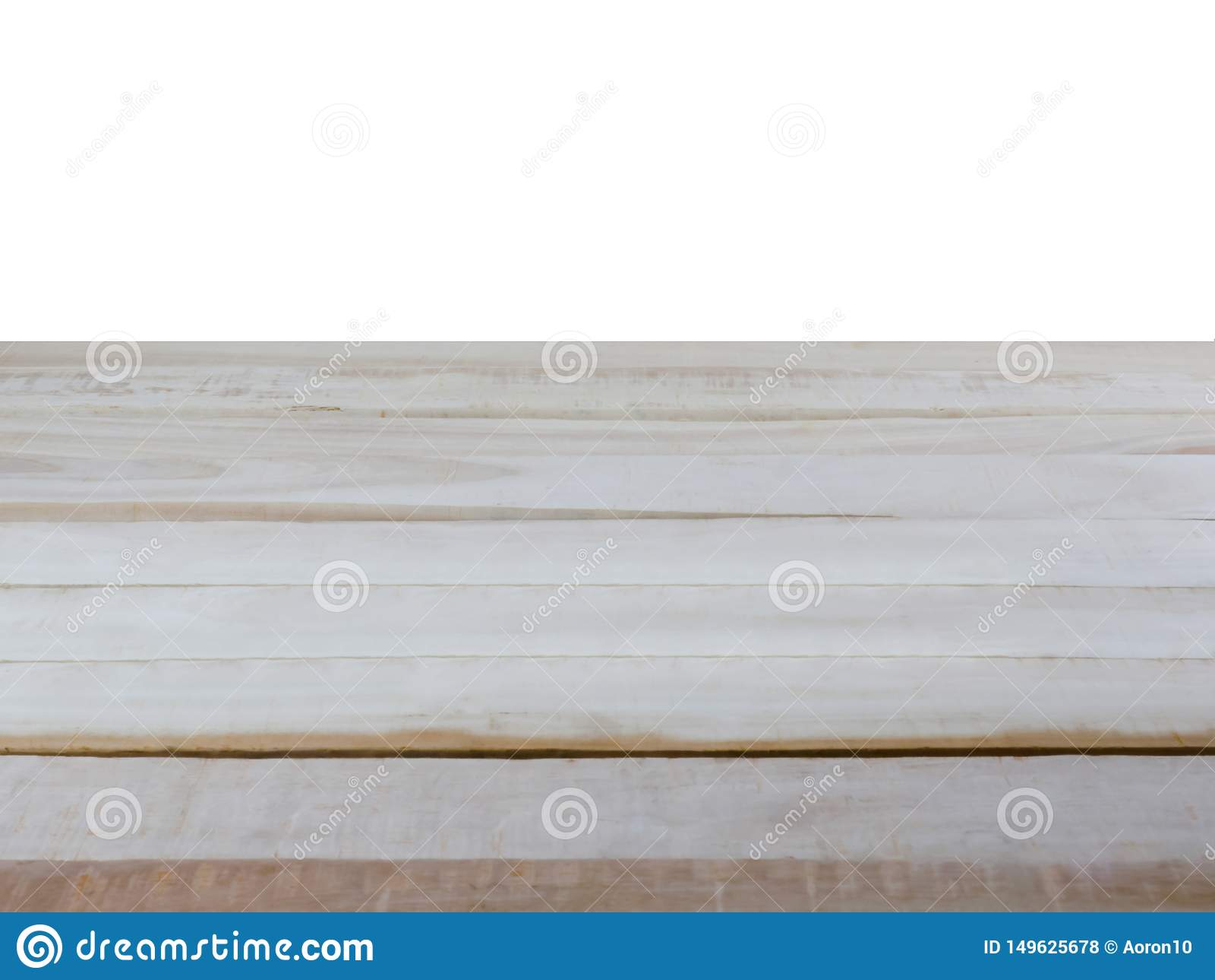 Η κενή ξύλινη επιτραπέζια κορυφή, απομονώνει σε ένα άσπρο υπόβαθρο