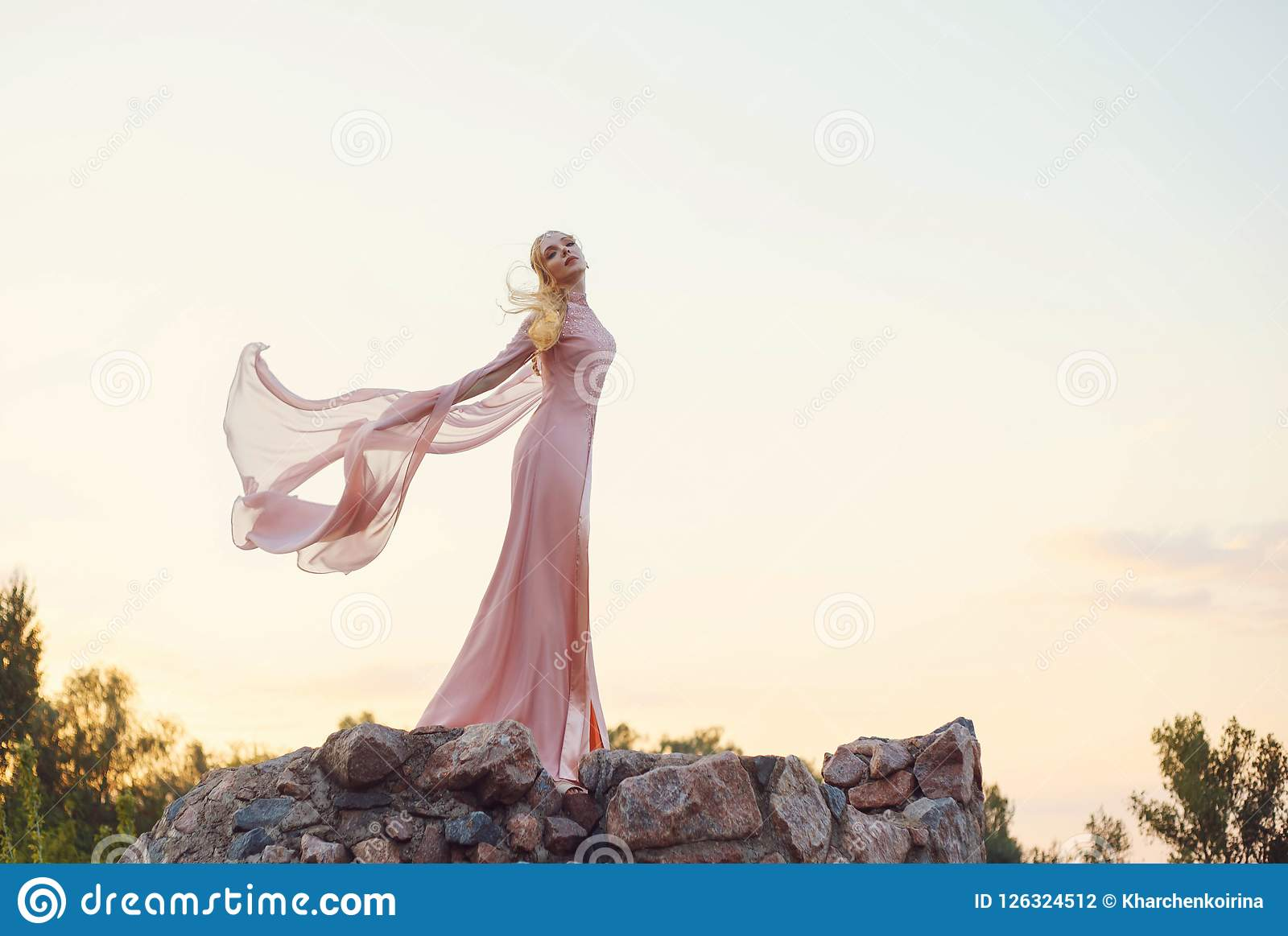Η κομψή πριγκήπισσα με την ξανθή δίκαιη κυματιστή τρίχα με την τιάρα σε το, φορώντας μακρύ έναν ανοικτό ροζ αυξήθηκε κυματίζοντας