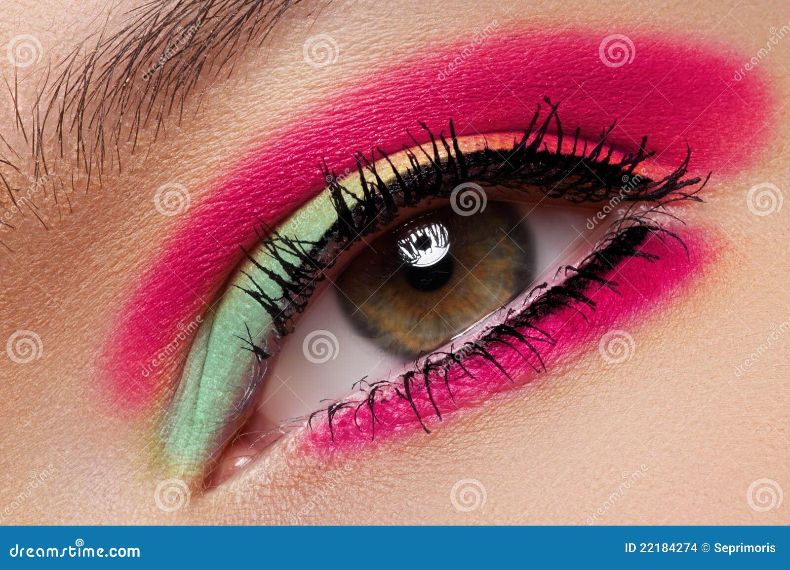 η μακροεντολή μόδας σκιών ματιών ματιών καλλυντικών αποτελεί