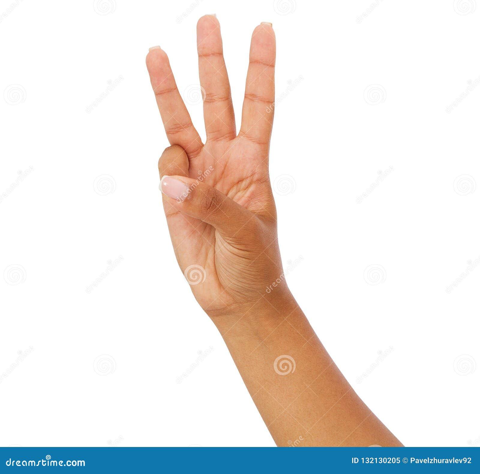 Η μαύρη γυναίκα παρουσιάζει το τρίτο, αριθμός τρία σημάδι που απομονώνεται στο άσπρο υπόβαθρο, αμερικανικός βραχίονας afro