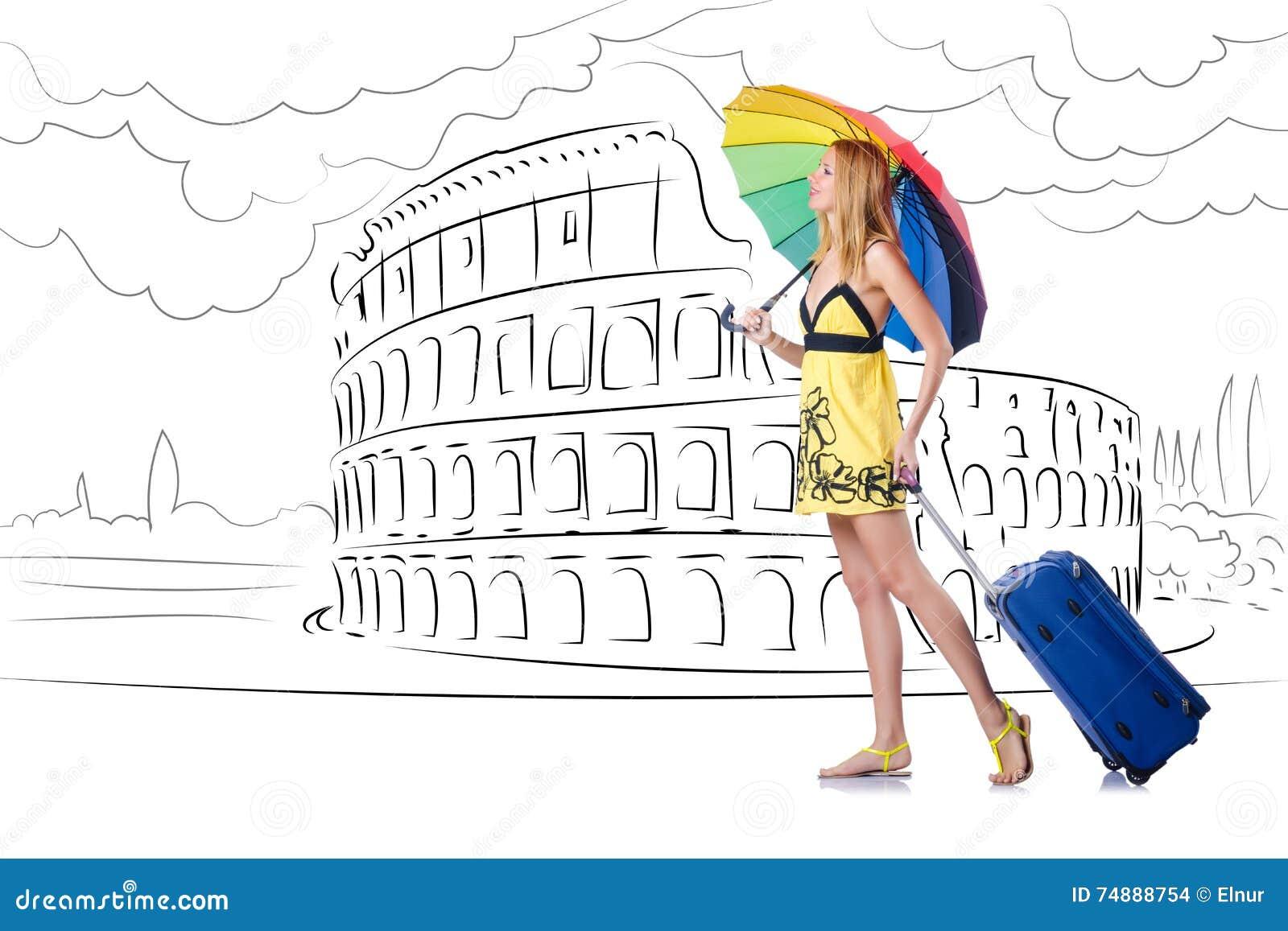 Η νέα γυναίκα που ταξιδεύει στη Ρώμη στην Ιταλία