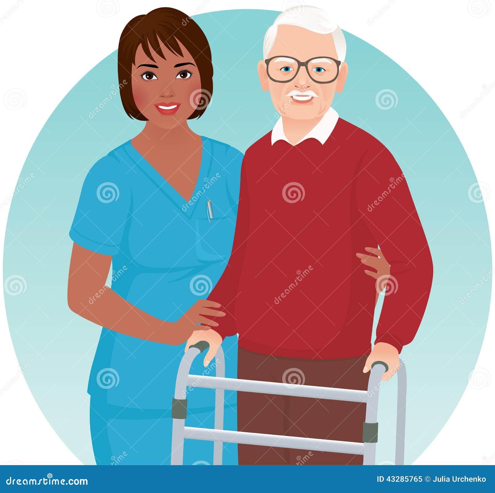 Η νοσοκόμα βοηθά τον ηλικιωμένο ασθενή