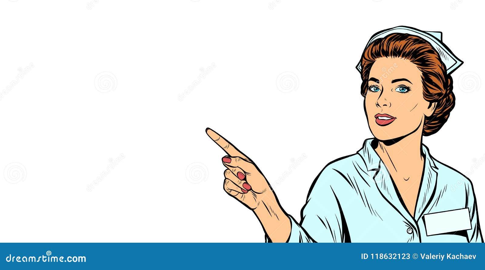 Η νοσοκόμα δείχνει ένα δάχτυλο