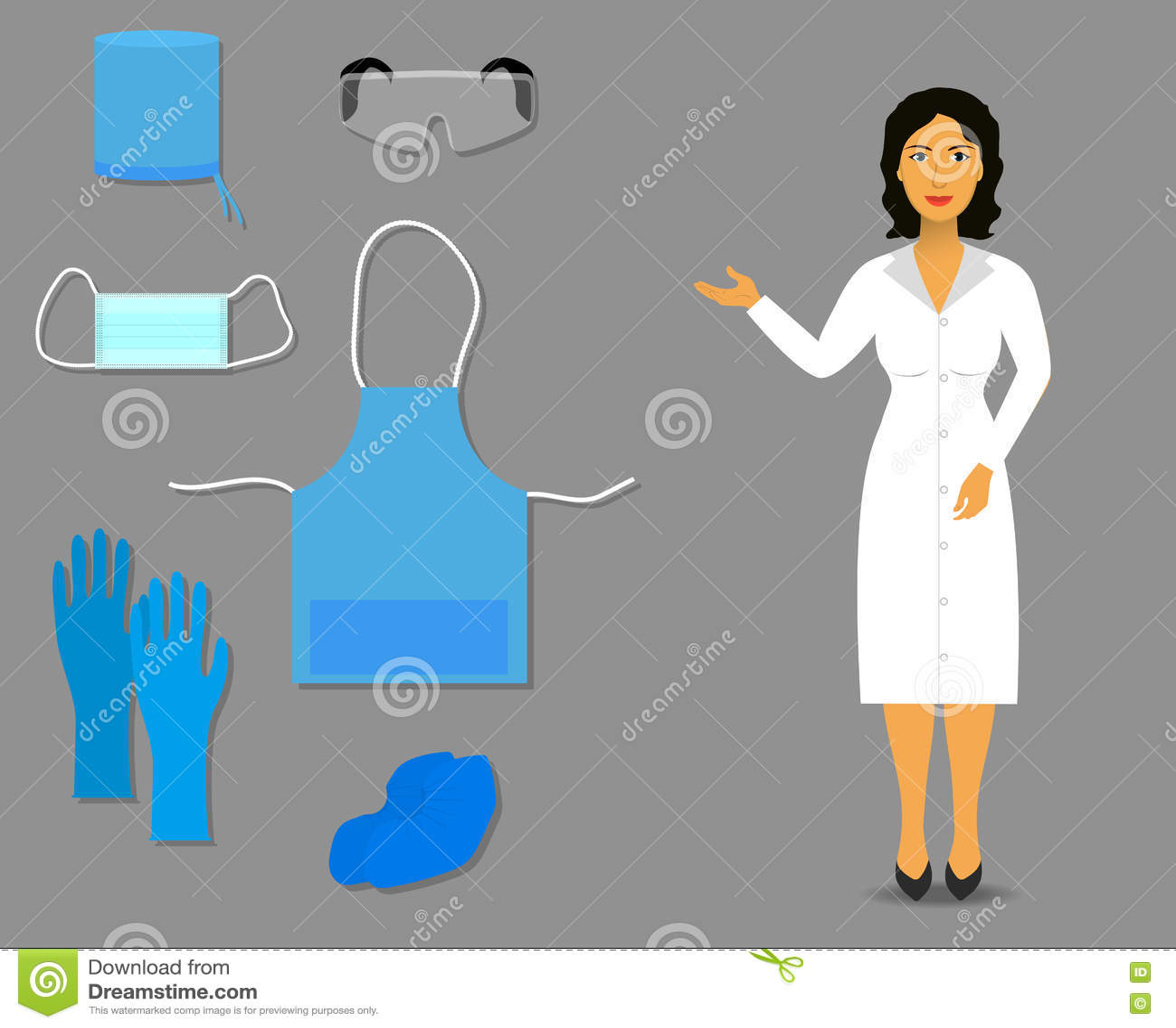 Η νοσοκόμα παρουσιάζει τον ιατρικούς ιματισμό και εξαρτήματα για την εργασία