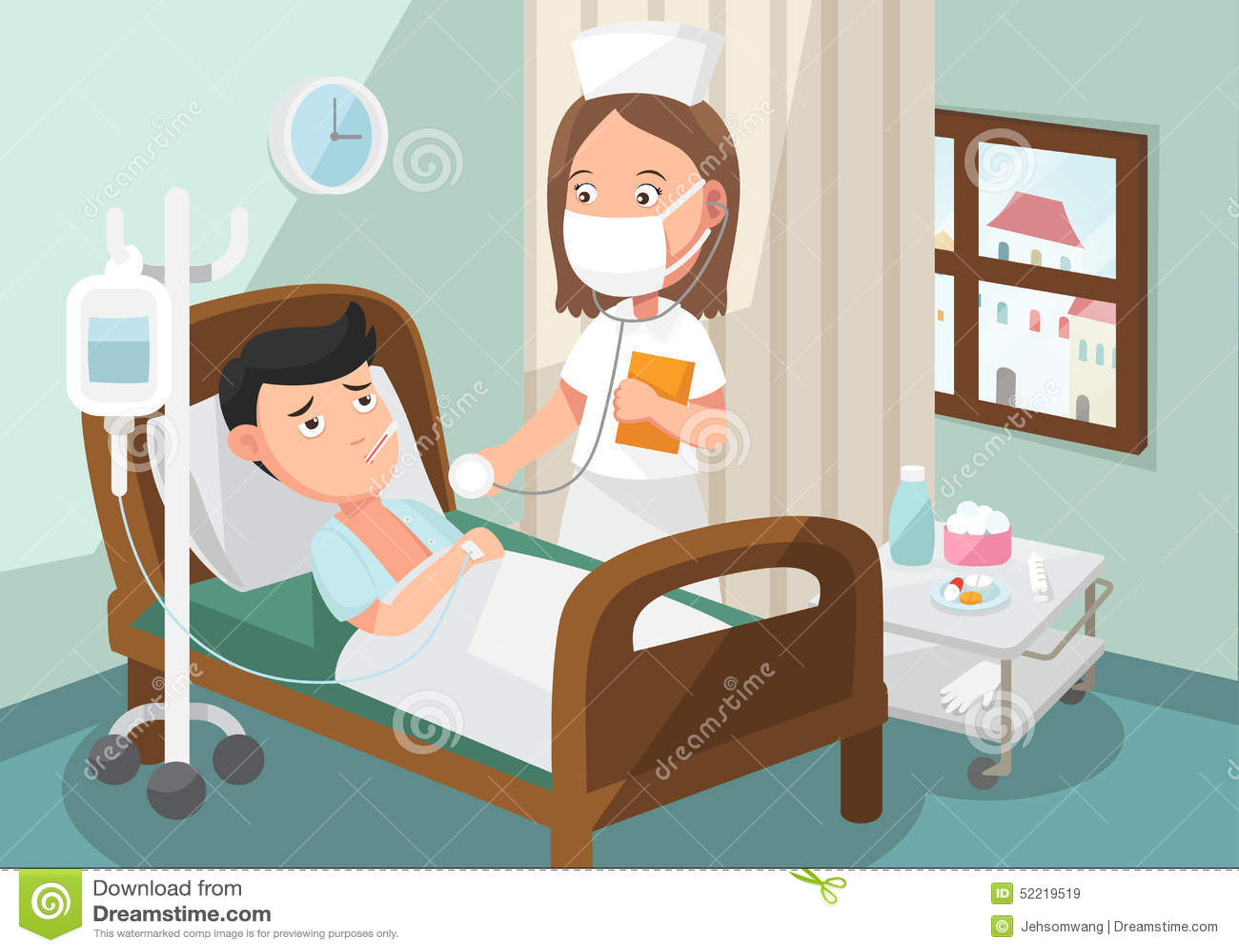 Η νοσοκόμα που φροντίζει τον ασθενή στο θάλαμο του νοσοκομείου
