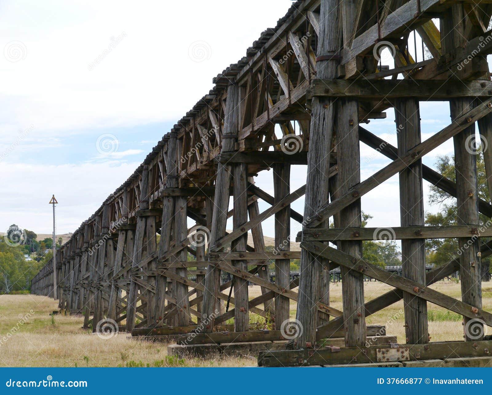Η ξύλινη οδογέφυρα ραγών σε Gundagai