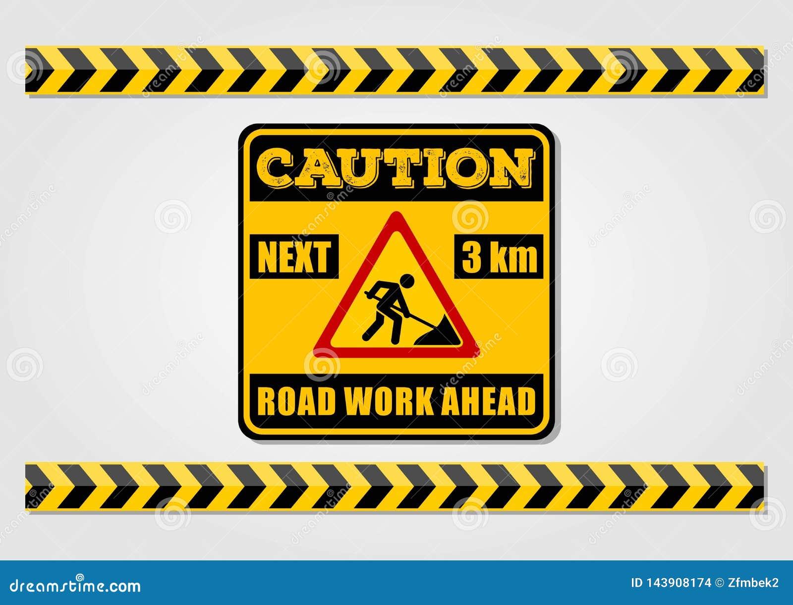 Η οδική εργασία υπογράφει μπροστά και προειδοποιεί τις γραμμές που απομονώνονται στο άσπρο υπόβαθρο επίσης corel σύρετε το διάνυσ