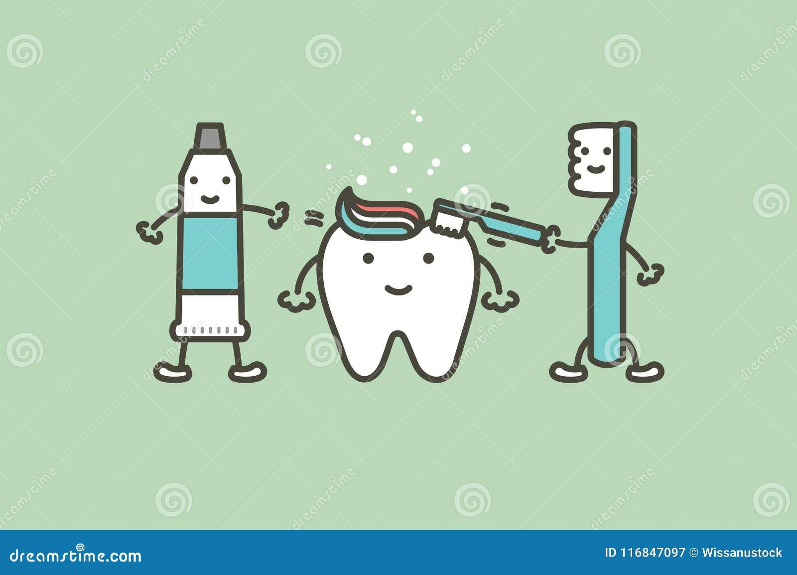 Η οδοντόβουρτσα και η οδοντόπαστα βουρτσίζουν τα δόντια στο υγιές άσπρο δόντι - οδοντικό διανυσματικό επίπεδο ύφος κινούμενων σχε