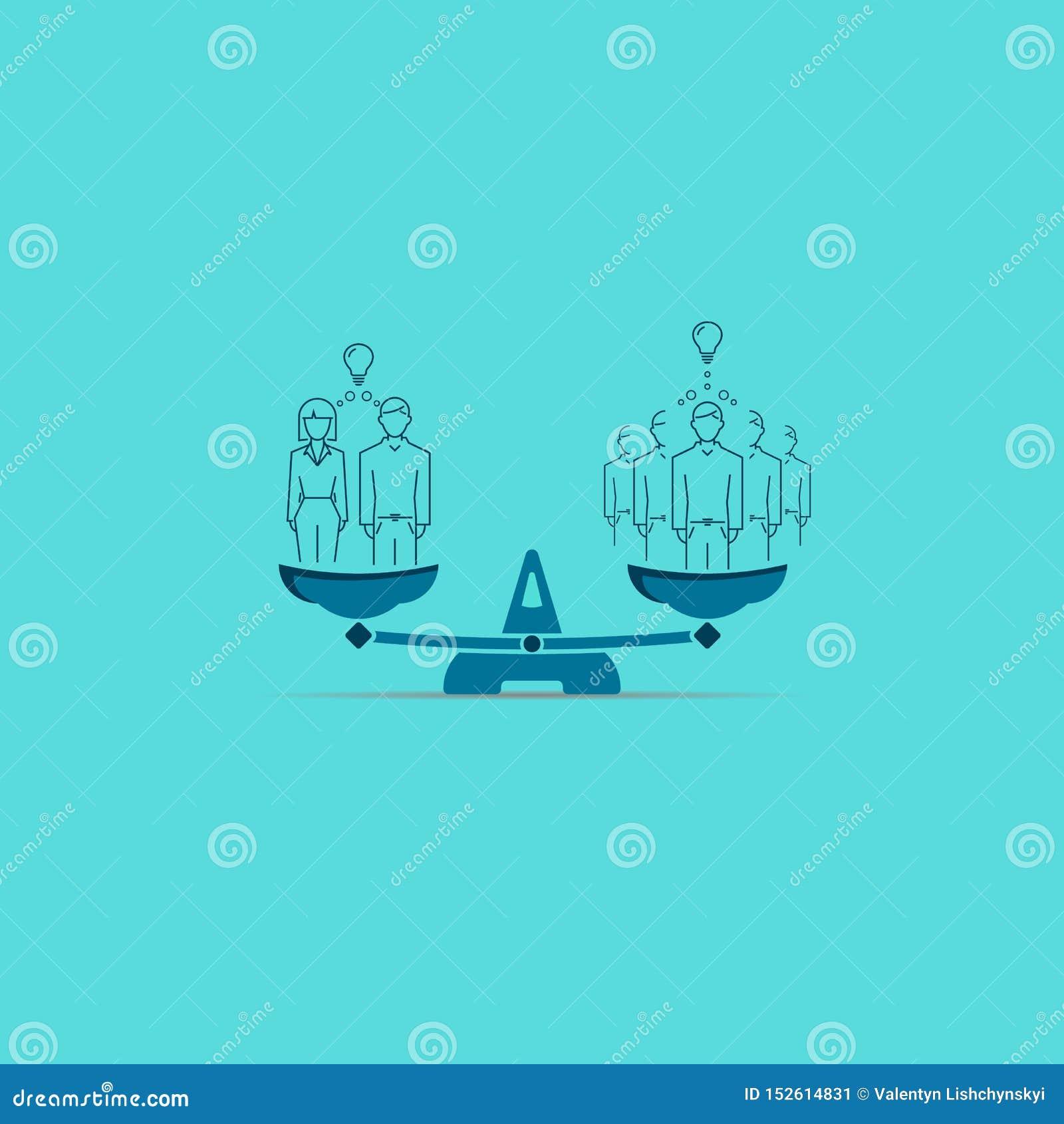 η οικογένεια στην επιχείρηση είναι καλύτερη από πέντε άτομα απεικόνιση στις κλίμακες διανυσματικό σύμβολο