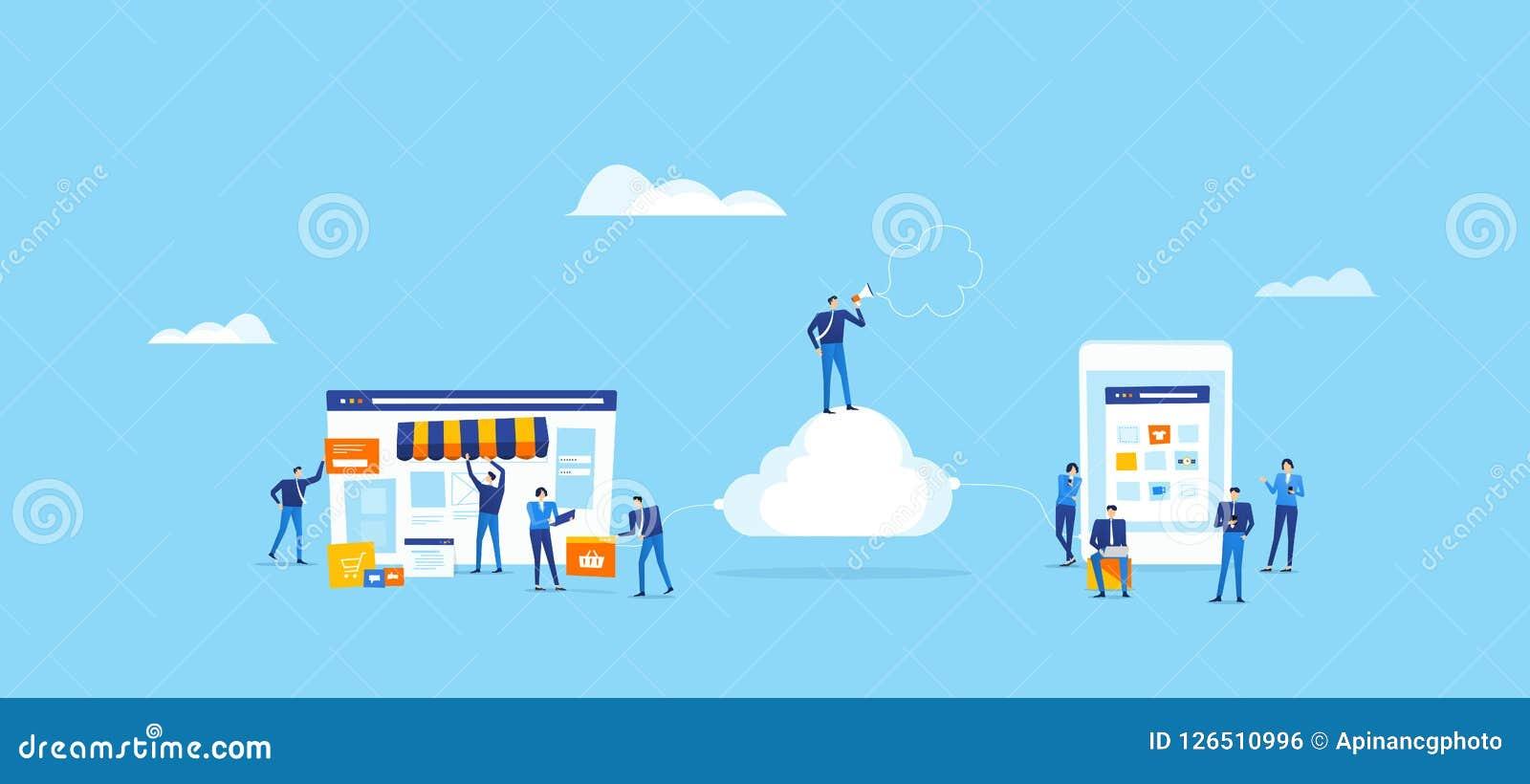 Η ομάδα υπεύθυνων για την ανάπτυξη και σχεδιαστών δημιουργεί το σε απευθείας σύνδεση κατάστημα και συνδέει στο σύννεφο