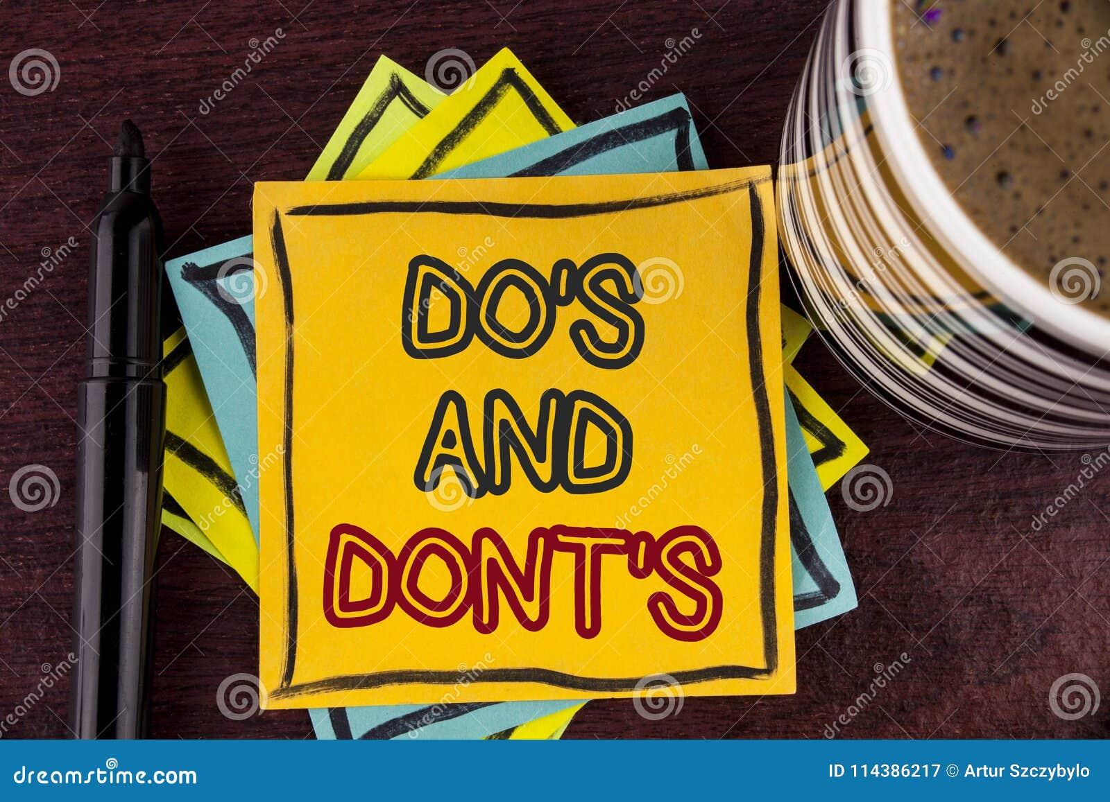 Η παρουσίαση σημειώσεων γραψίματος έκανε και Don Ts Επιχειρησιακή φωτογραφία που επιδεικνύει τι μπορεί να γίνει και τι δεν μπορεί