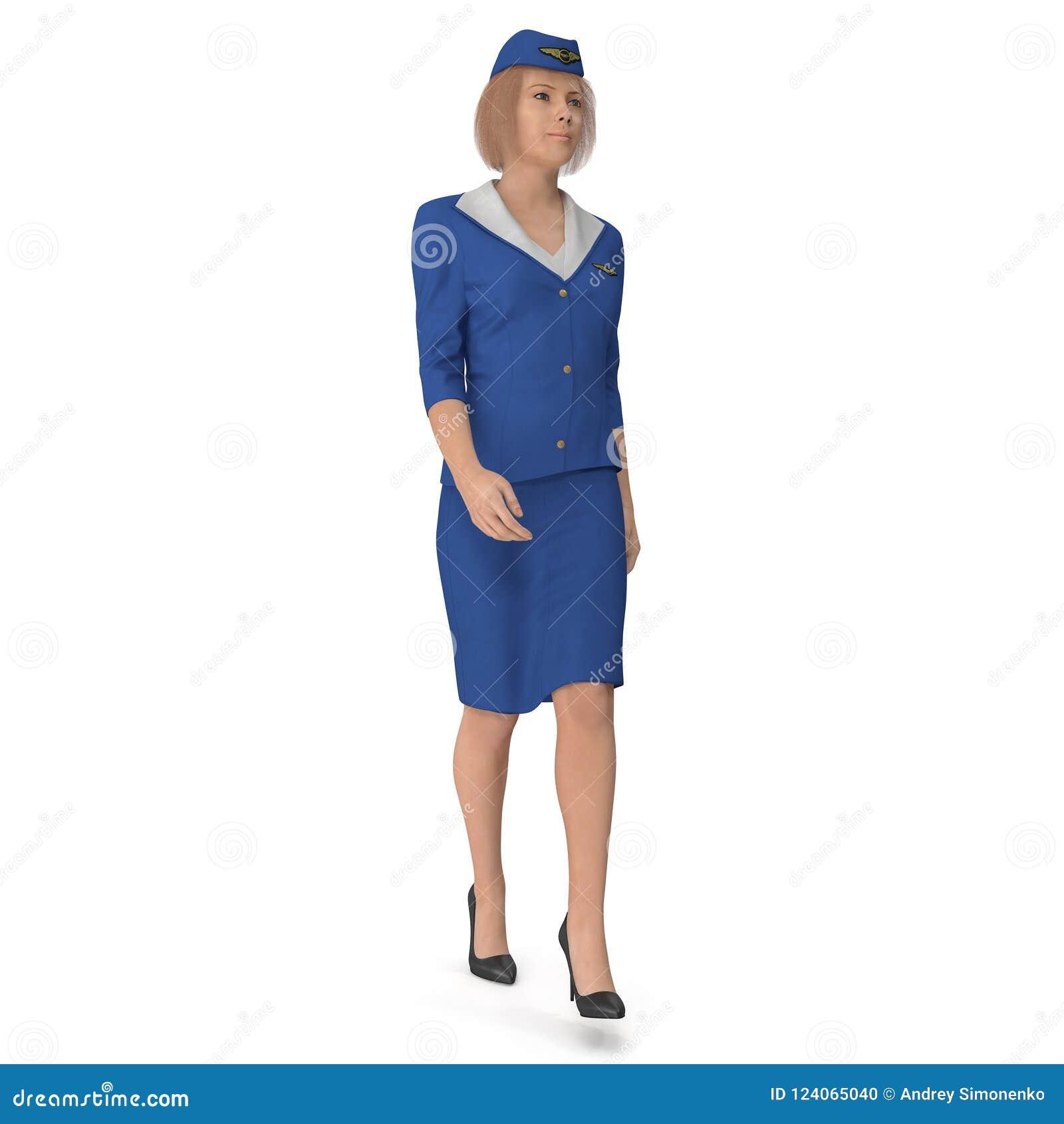 Η περπατώντας αεροσυνοδός έντυσε μπλε σε ομοιόμορφο τρισδιάστατη απεικόνιση που απομονώνεται στο άσπρο υπόβαθρο
