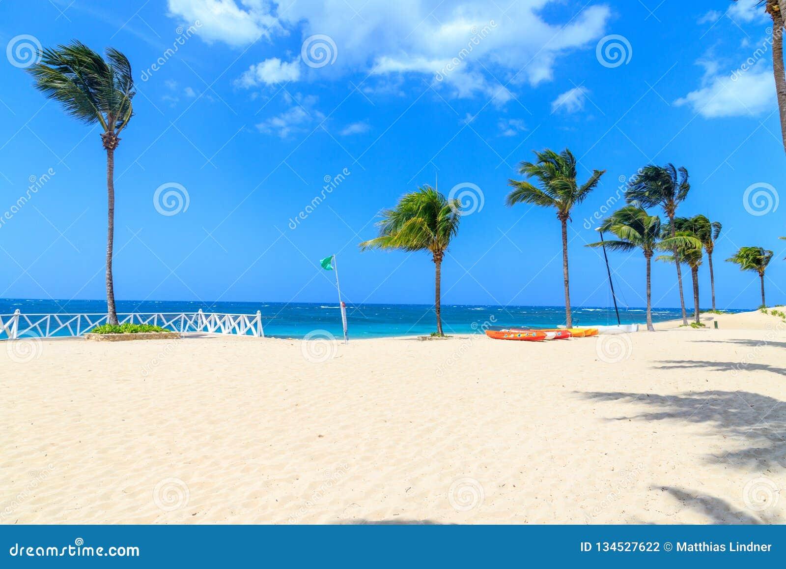 Η πράσινη σημαία στην παραλία δεν δείχνει κανέναν κίνδυνο κατά τη λούσιμο Δομινικανή Δημοκρατία