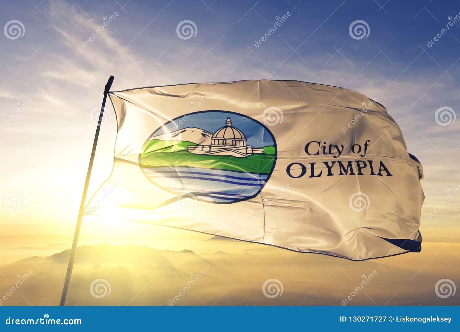 Η πρωτεύουσα πόλεων της Ολυμπία του πολιτεία της Washington των Ηνωμένων Πολιτειών σημαιοστολίζει το υφαντικό ύφασμα υφασμάτων κυ
