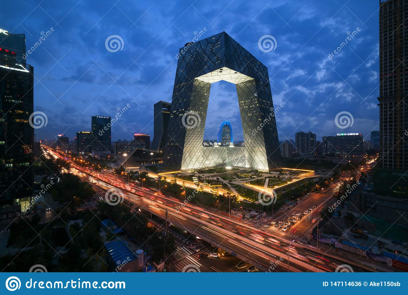 Η πόλη του Πεκίνου της Κίνας, ένα διάσημο κτήριο ορόσημων, CCTV CCTV της Κίνας ψηλοί ουρανοξύστες 234 μέτρων είναι πολύ θεαματική