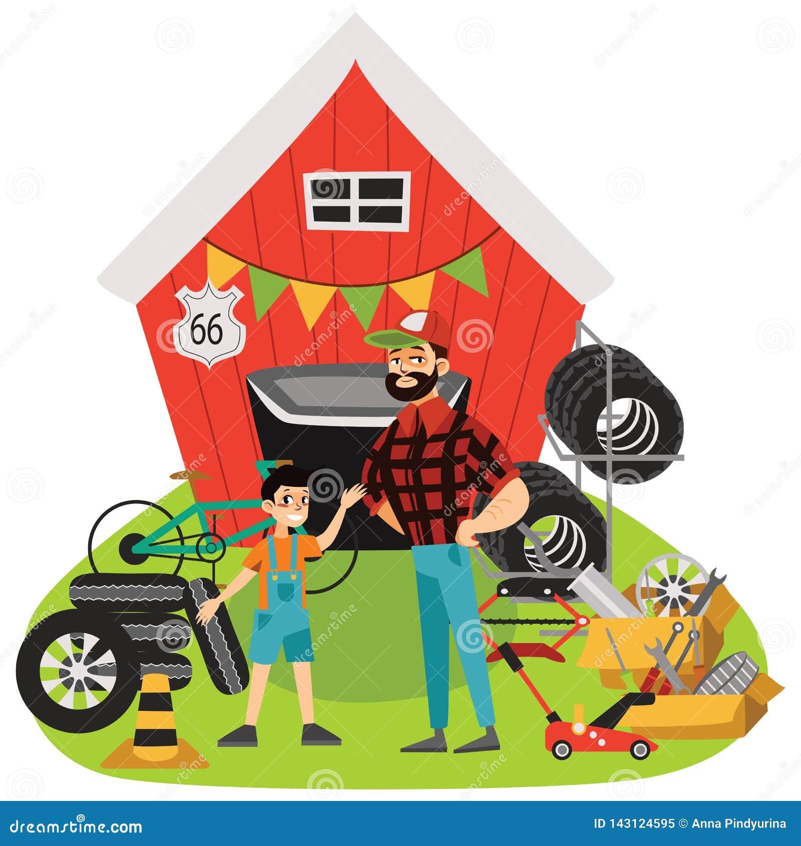 Η πώληση, το άτομο και το αγόρι γκαράζ πωλούν τα χρησιμοποιημένα μέρη αυτοκινήτων, τις ρόδες ροδών στην πίσω αυλή, το μηχανικό στ