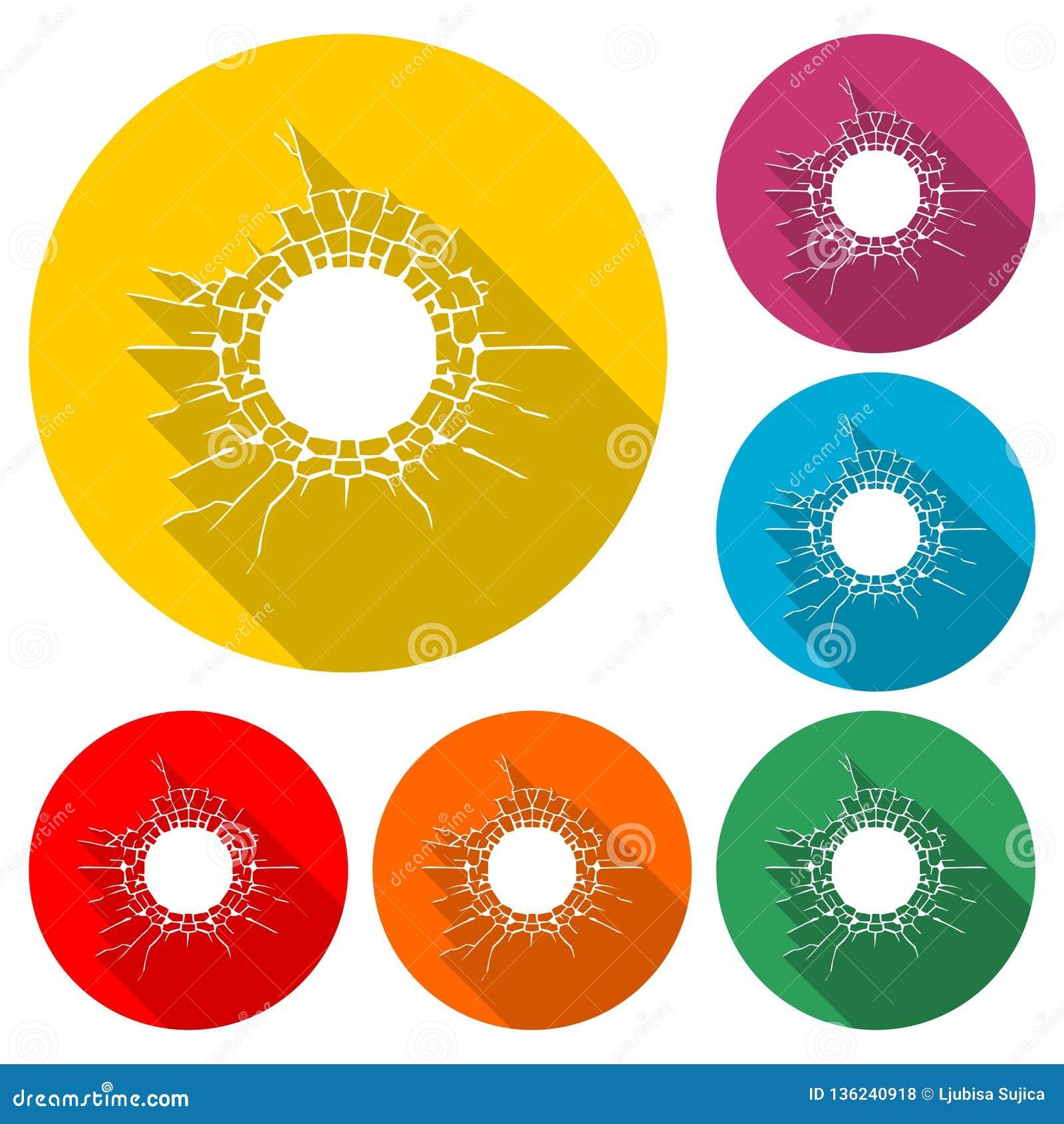 Η ρωγμή στο πάτωμα, το σπασμένο εικονίδιο συμπαγών τοίχων ή το λογότυπο, χρώμα έθεσε με τη μακριά σκιά