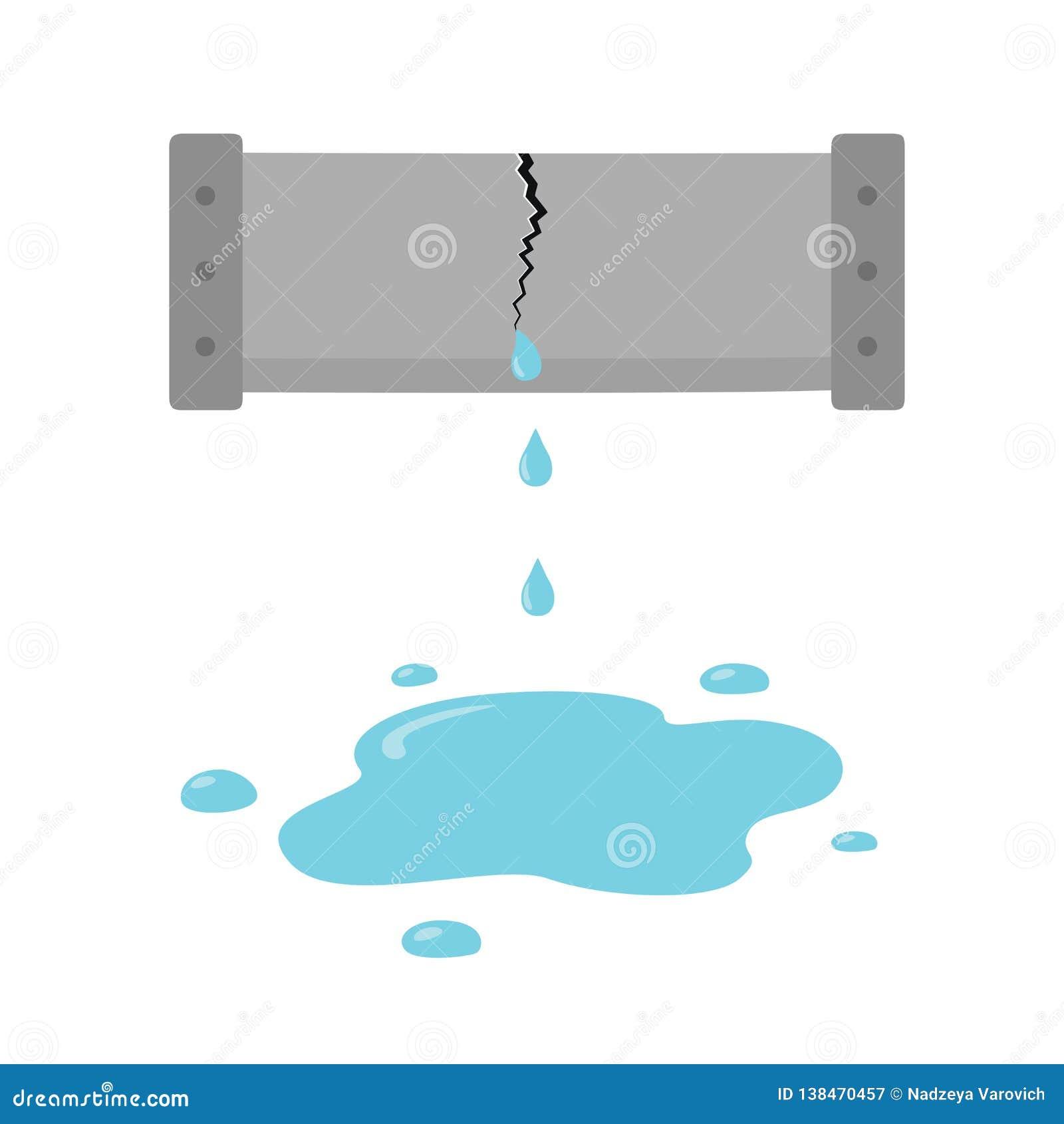 Η ρωγμή στο σωλήνα Στάζοντας εικονίδιο υδροσωλήνων, σπάσιμο σαλπίγγων στο ύφος κινούμενων σχεδίων στο άσπρο υπόβαθρο