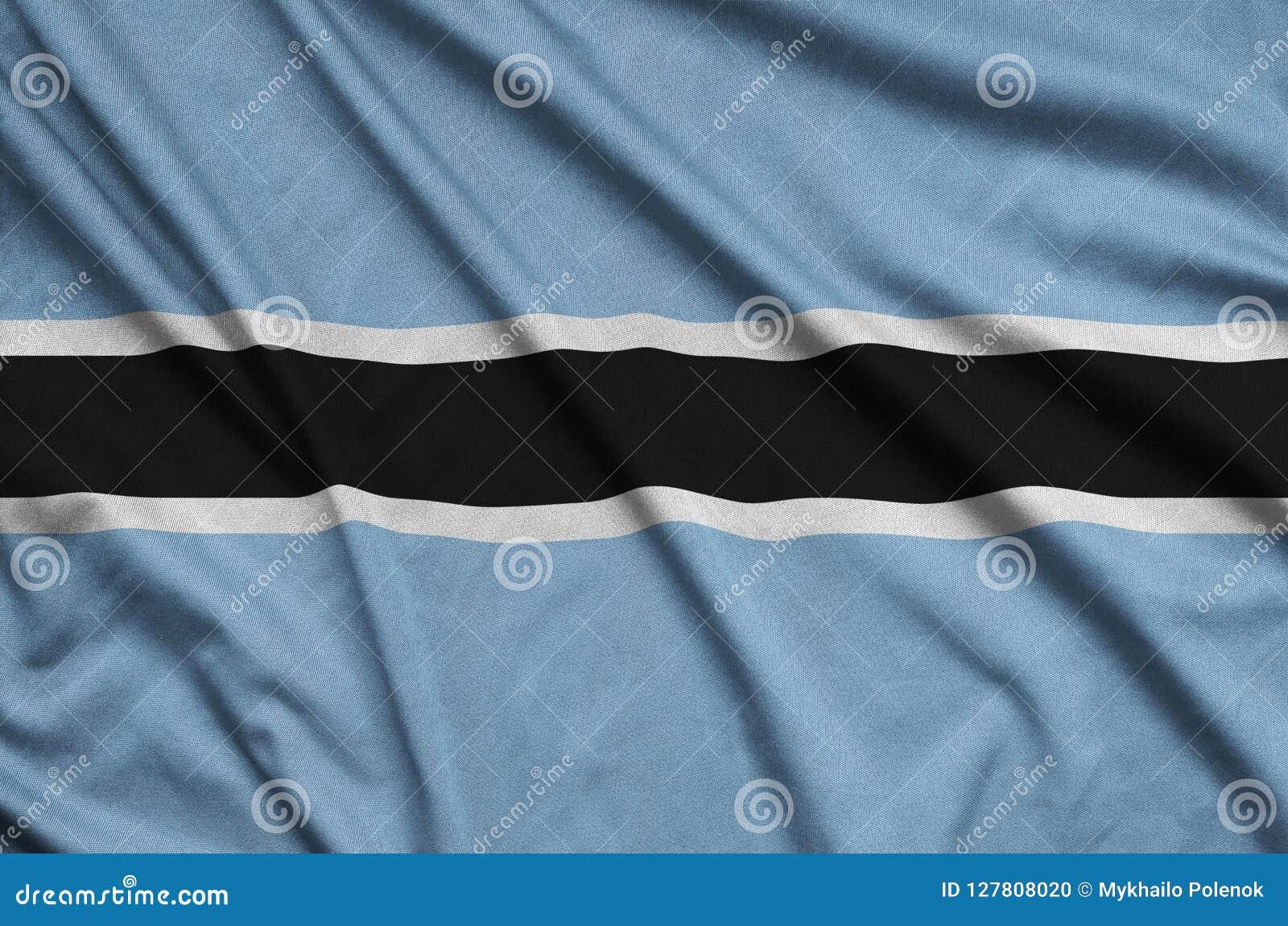 Η σημαία της Μποτσουάνα απεικονίζεται σε ένα ύφασμα αθλητικών υφασμάτων με πολλές πτυχές Έμβλημα αθλητικών ομάδων